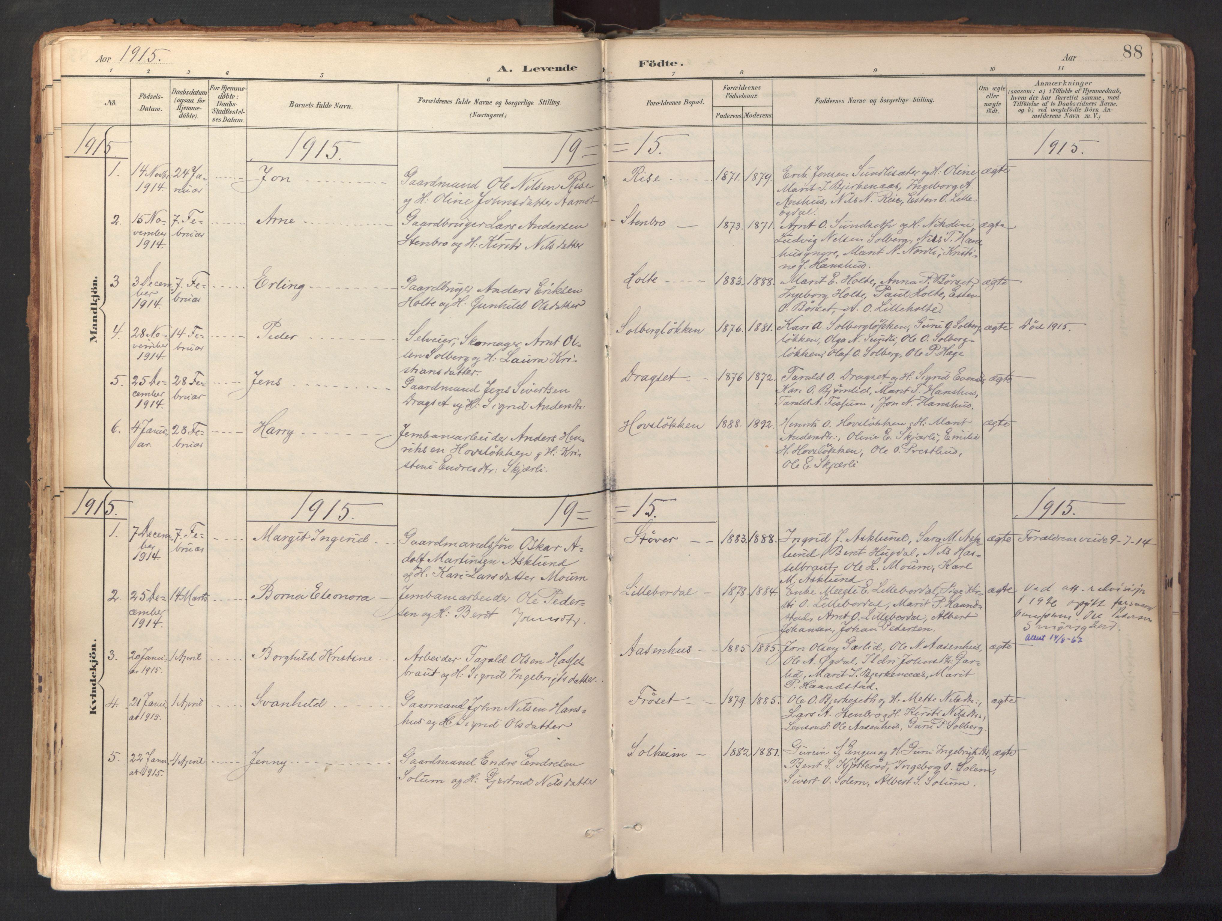 SAT, Ministerialprotokoller, klokkerbøker og fødselsregistre - Sør-Trøndelag, 689/L1041: Ministerialbok nr. 689A06, 1891-1923, s. 88