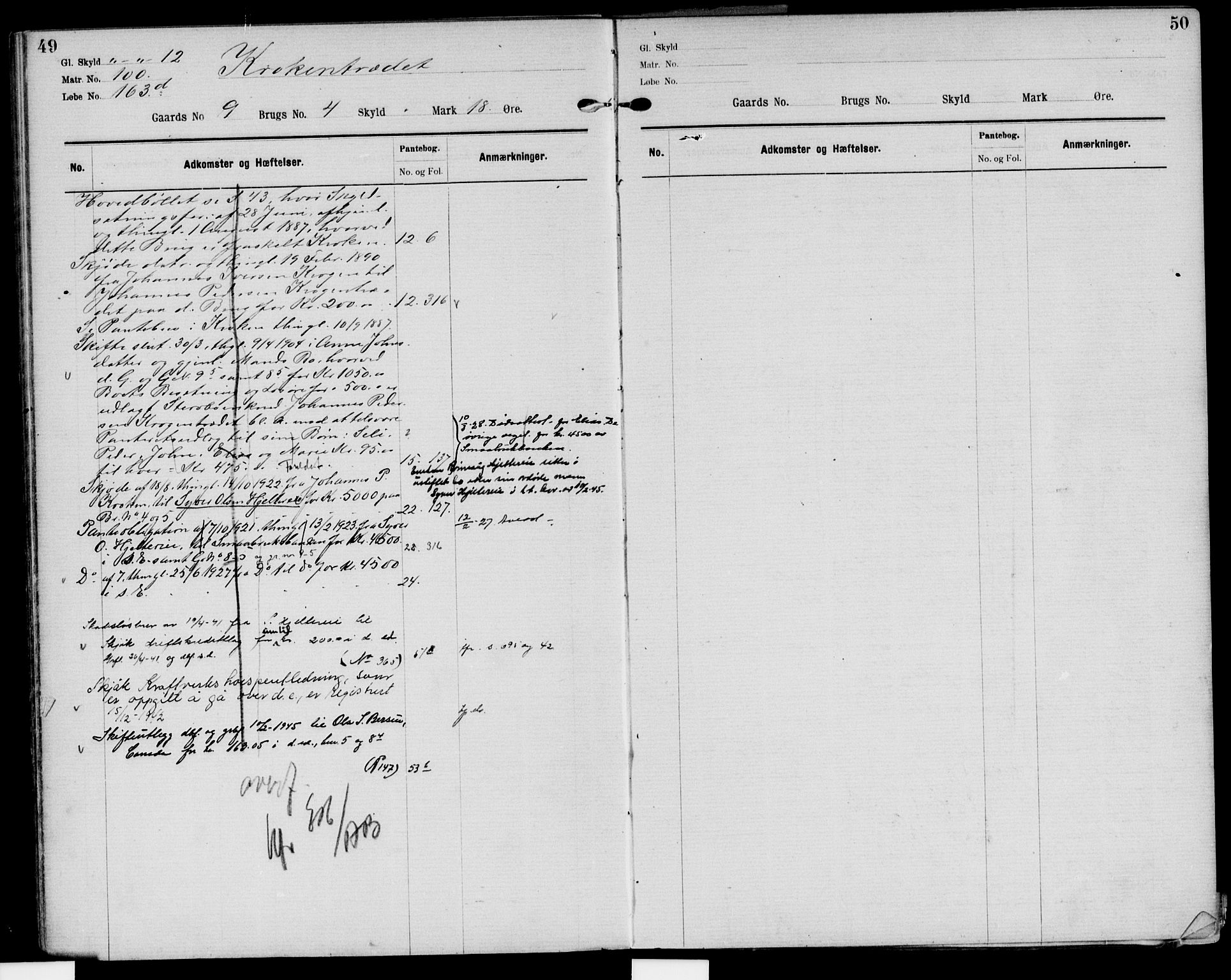SAH, Nord-Gudbrandsdal tingrett, H/Ha/Had/L0004: Panteregister nr. 4, 1898-1950, s. 49-50