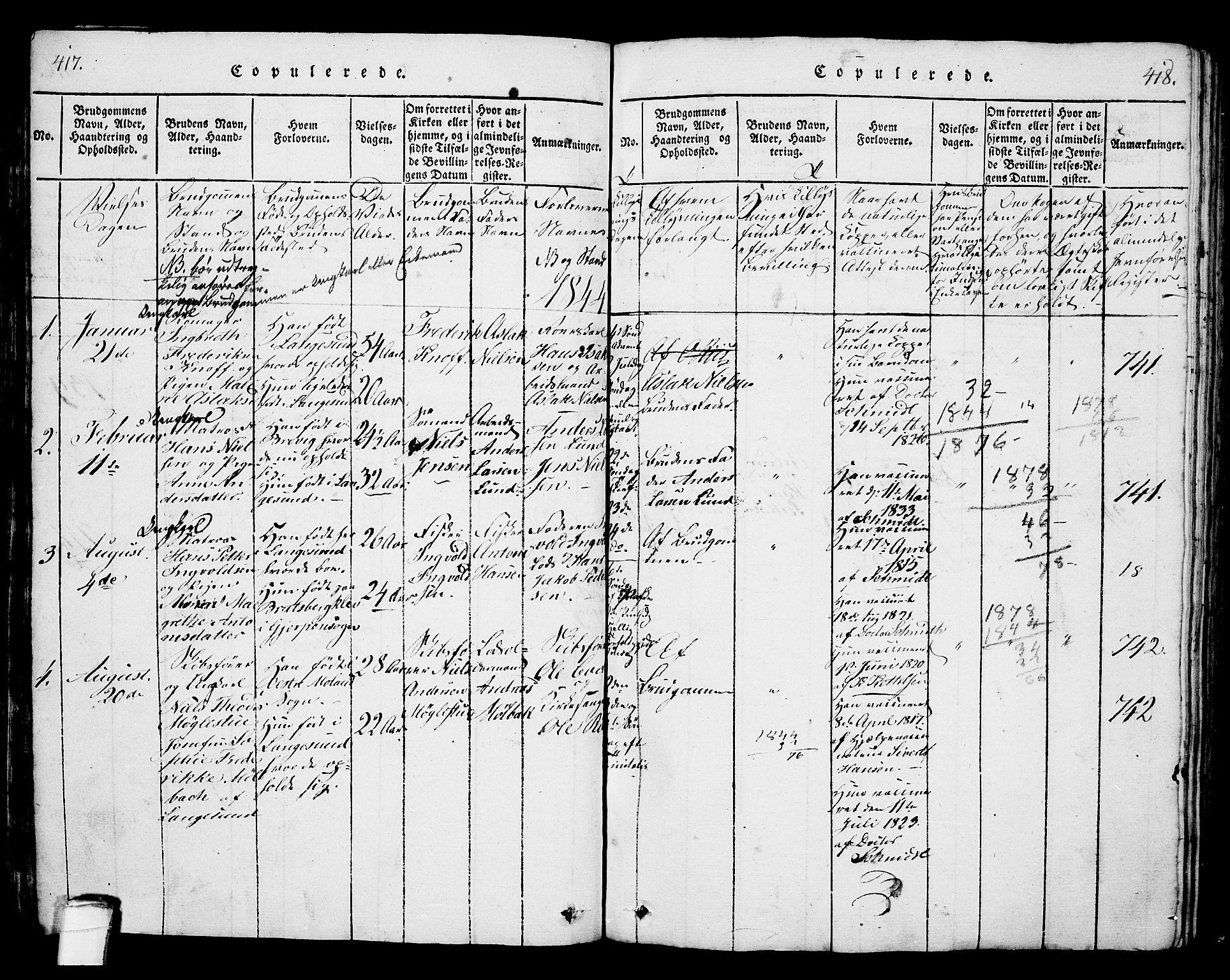 SAKO, Langesund kirkebøker, G/Ga/L0003: Klokkerbok nr. 3, 1815-1858, s. 417-418