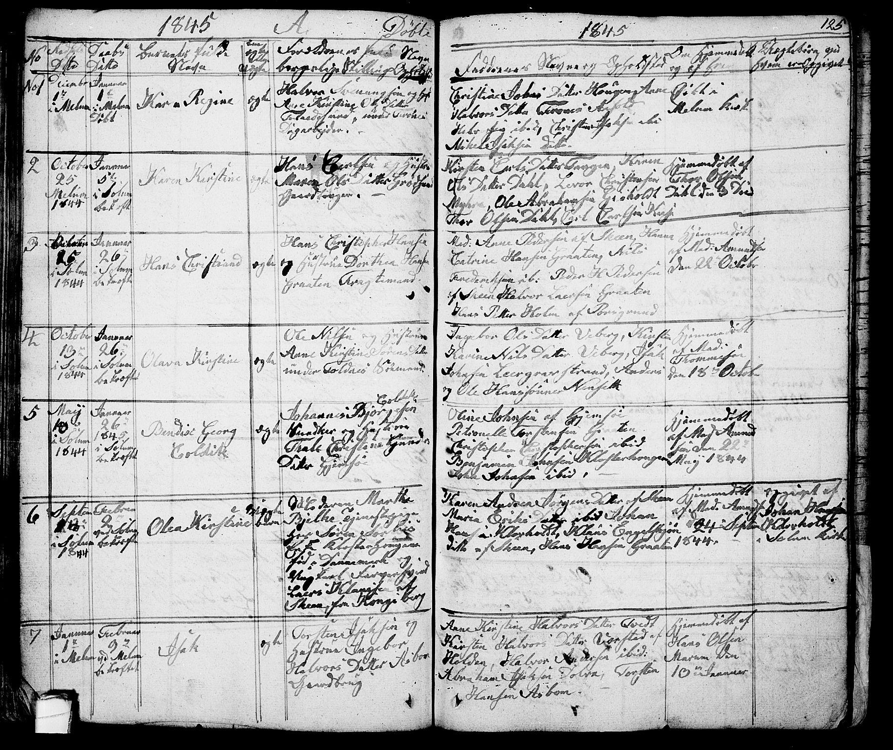 SAKO, Solum kirkebøker, G/Ga/L0002: Klokkerbok nr. I 2, 1834-1848, s. 125