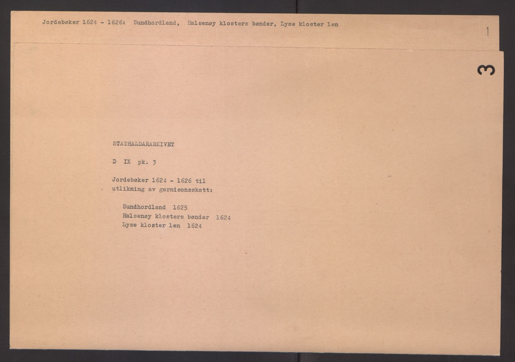 RA, Stattholderembetet 1572-1771, Ek/L0003: Jordebøker til utlikning av garnisonsskatt 1624-1626:, 1624-1625, s. 2