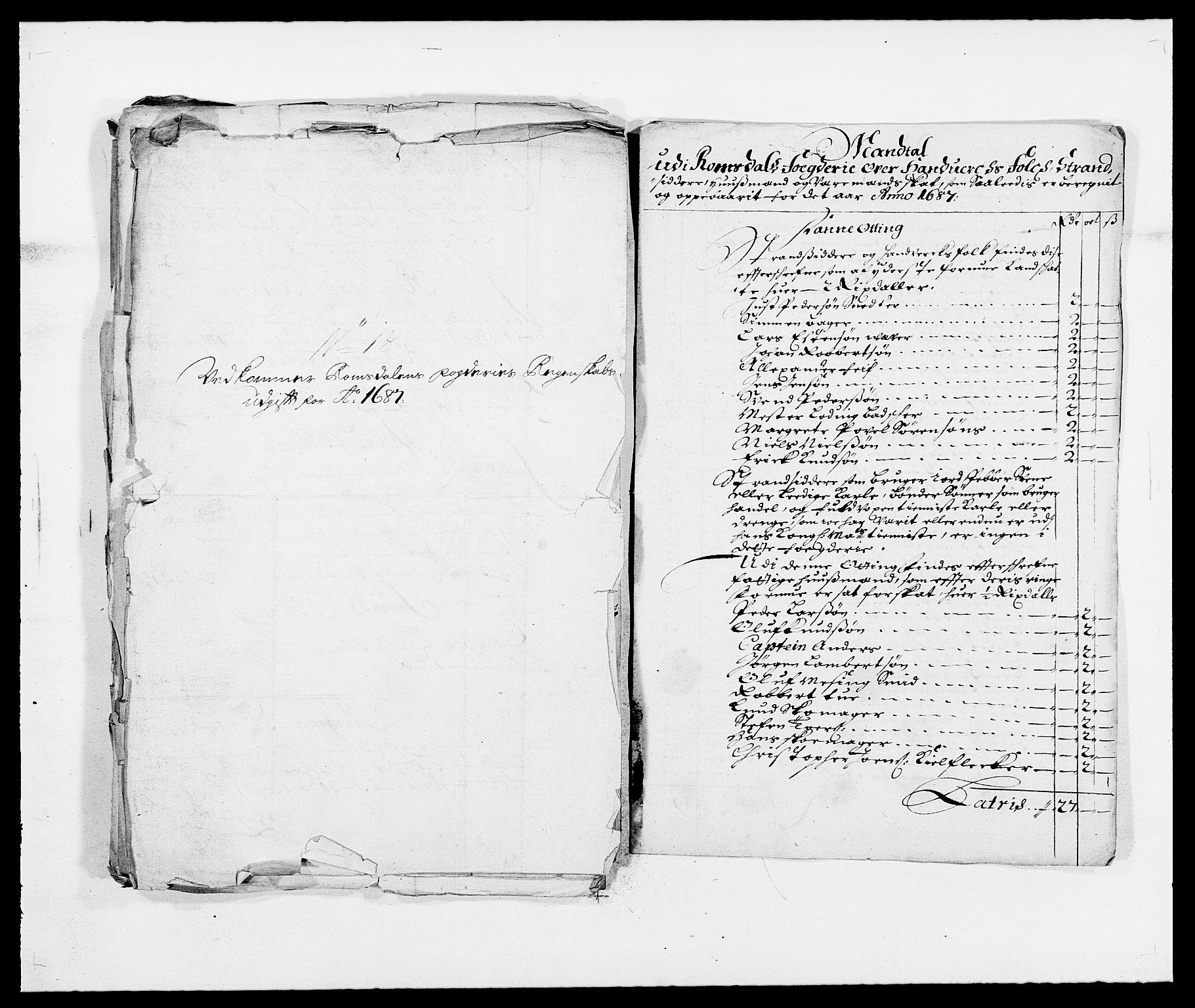 RA, Rentekammeret inntil 1814, Reviderte regnskaper, Fogderegnskap, R55/L3648: Fogderegnskap Romsdal, 1687-1689, s. 67