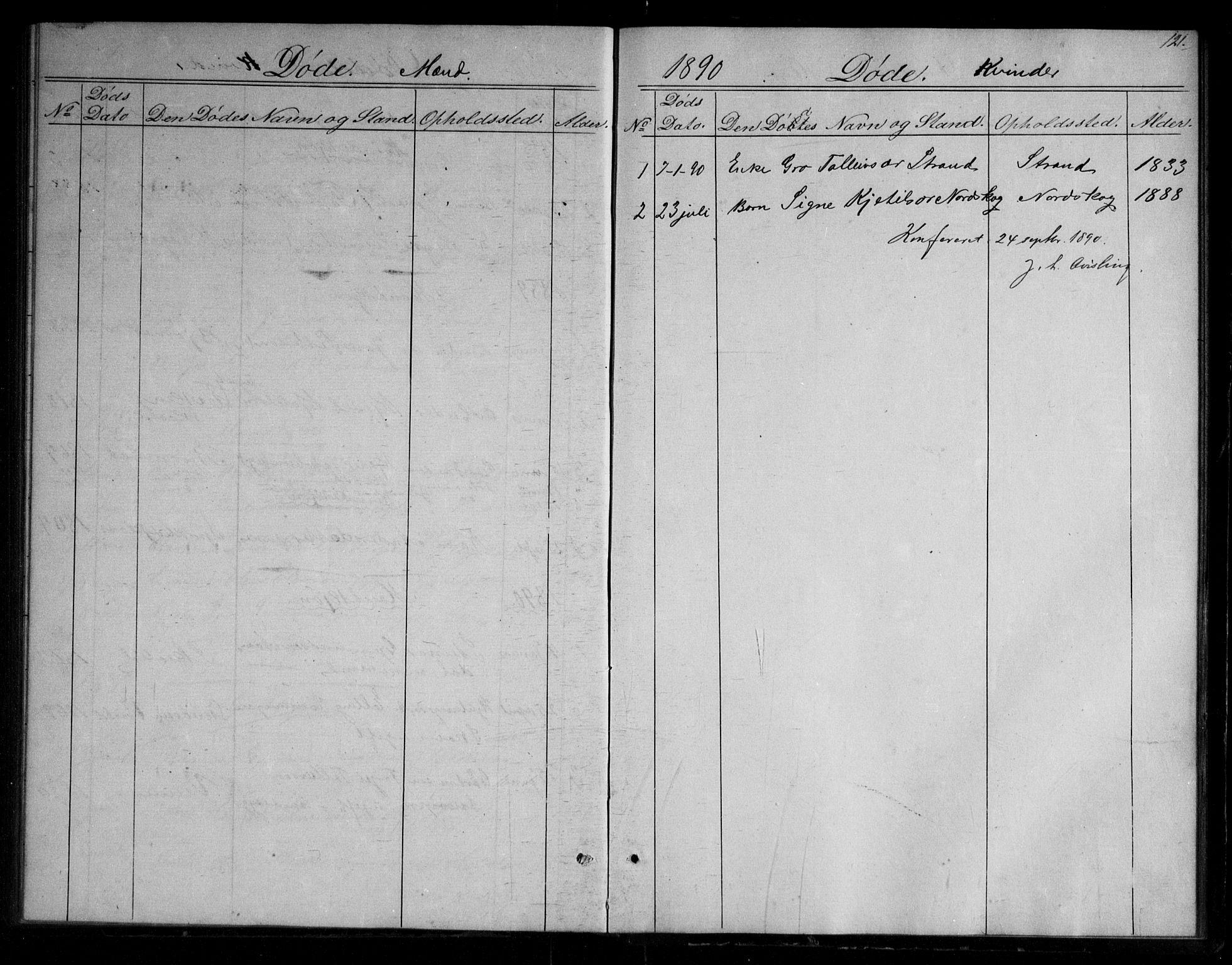 SAKO, Fyresdal kirkebøker, G/Gb/L0001: Klokkerbok nr. II 1, 1864-1890, s. 121