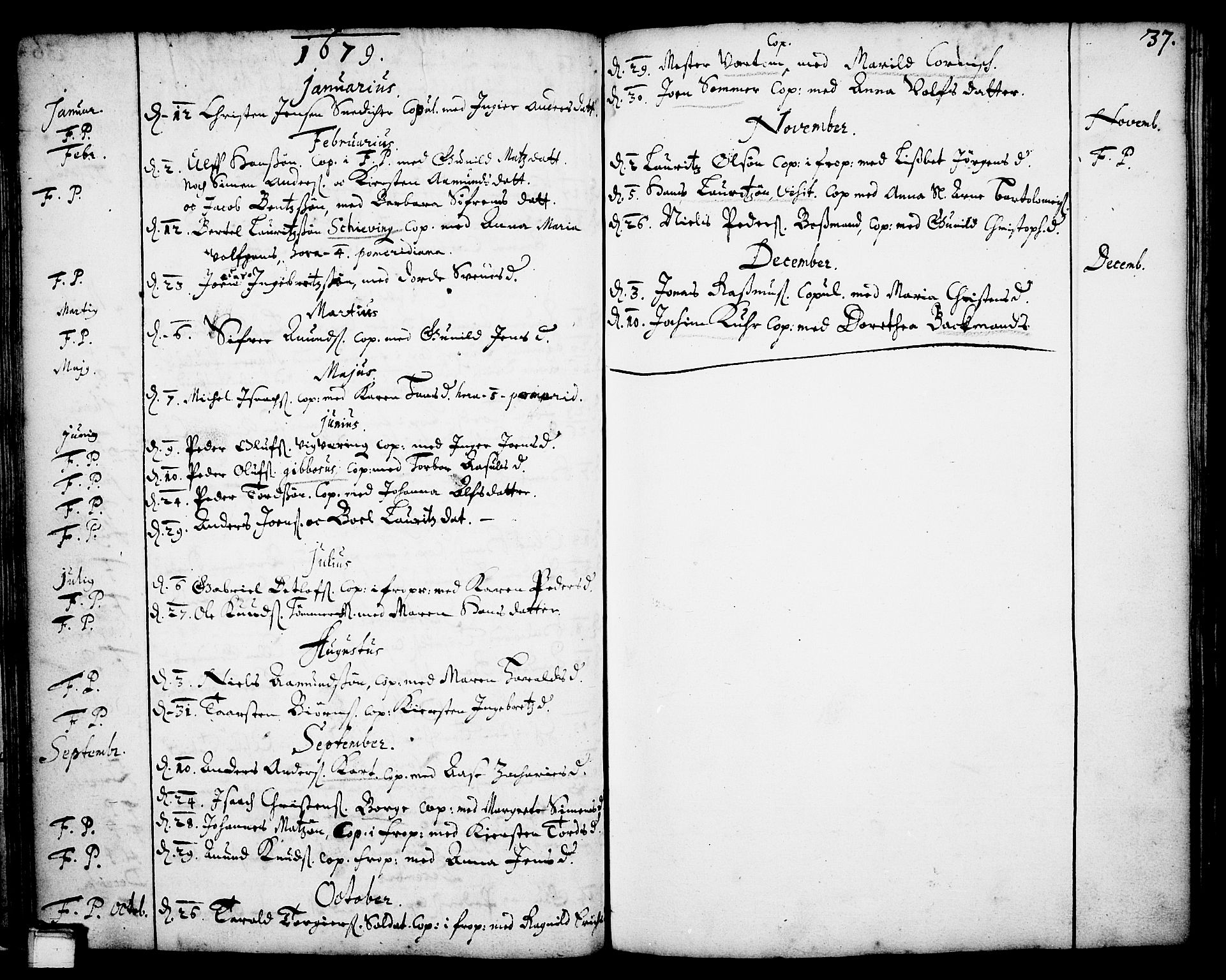 SAKO, Skien kirkebøker, F/Fa/L0001: Ministerialbok nr. 1, 1659-1679, s. 37