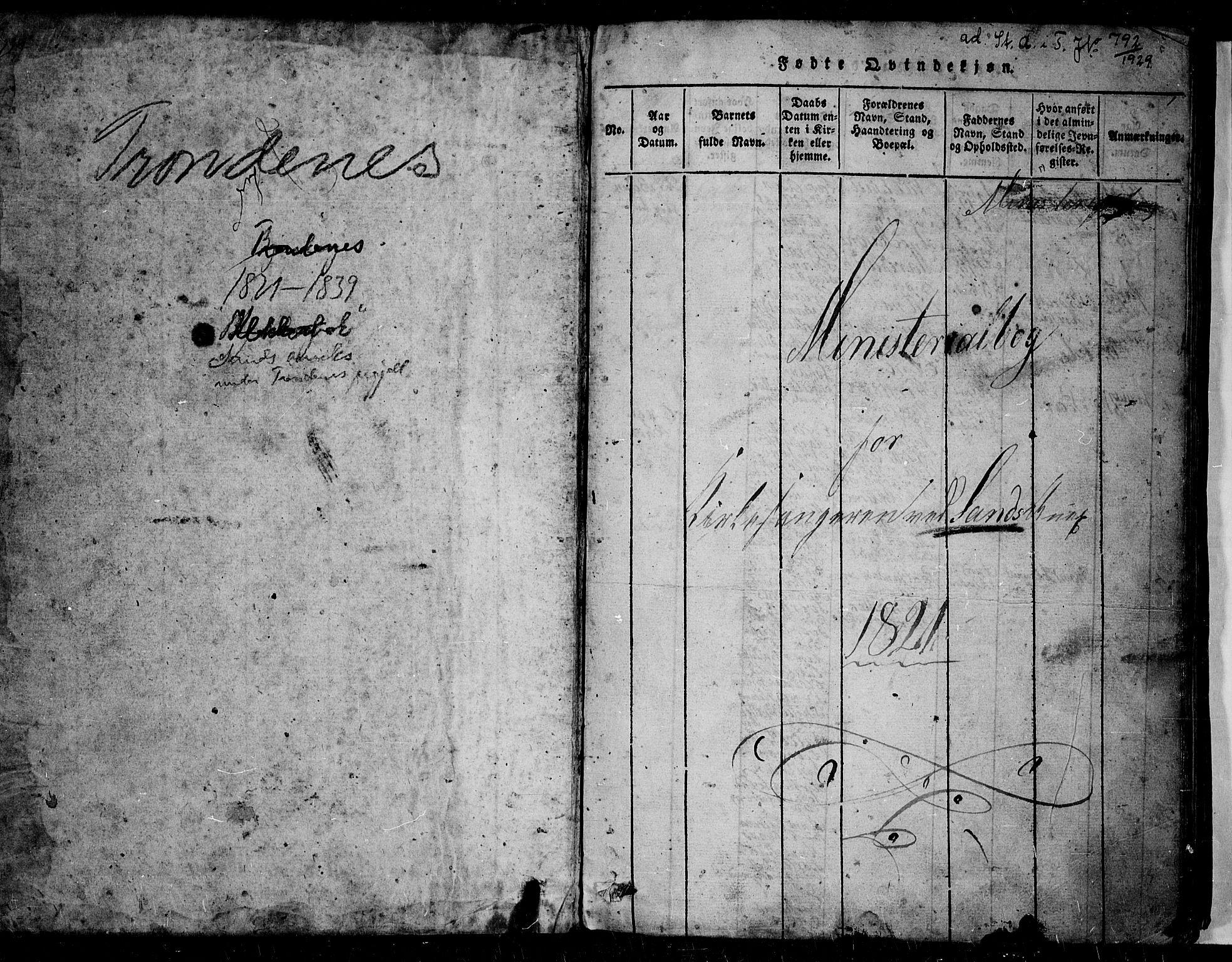 SATØ, Trondenes sokneprestkontor, H/Hb/L0004klokker: Klokkerbok nr. 4, 1821-1839, s. 0-1
