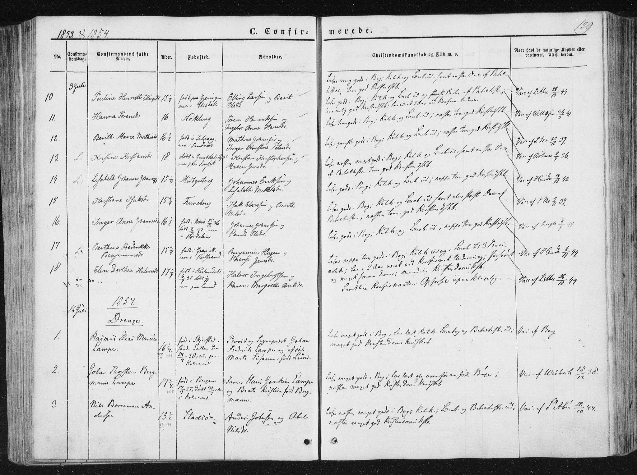 SAT, Ministerialprotokoller, klokkerbøker og fødselsregistre - Nord-Trøndelag, 780/L0640: Ministerialbok nr. 780A05, 1845-1856, s. 139
