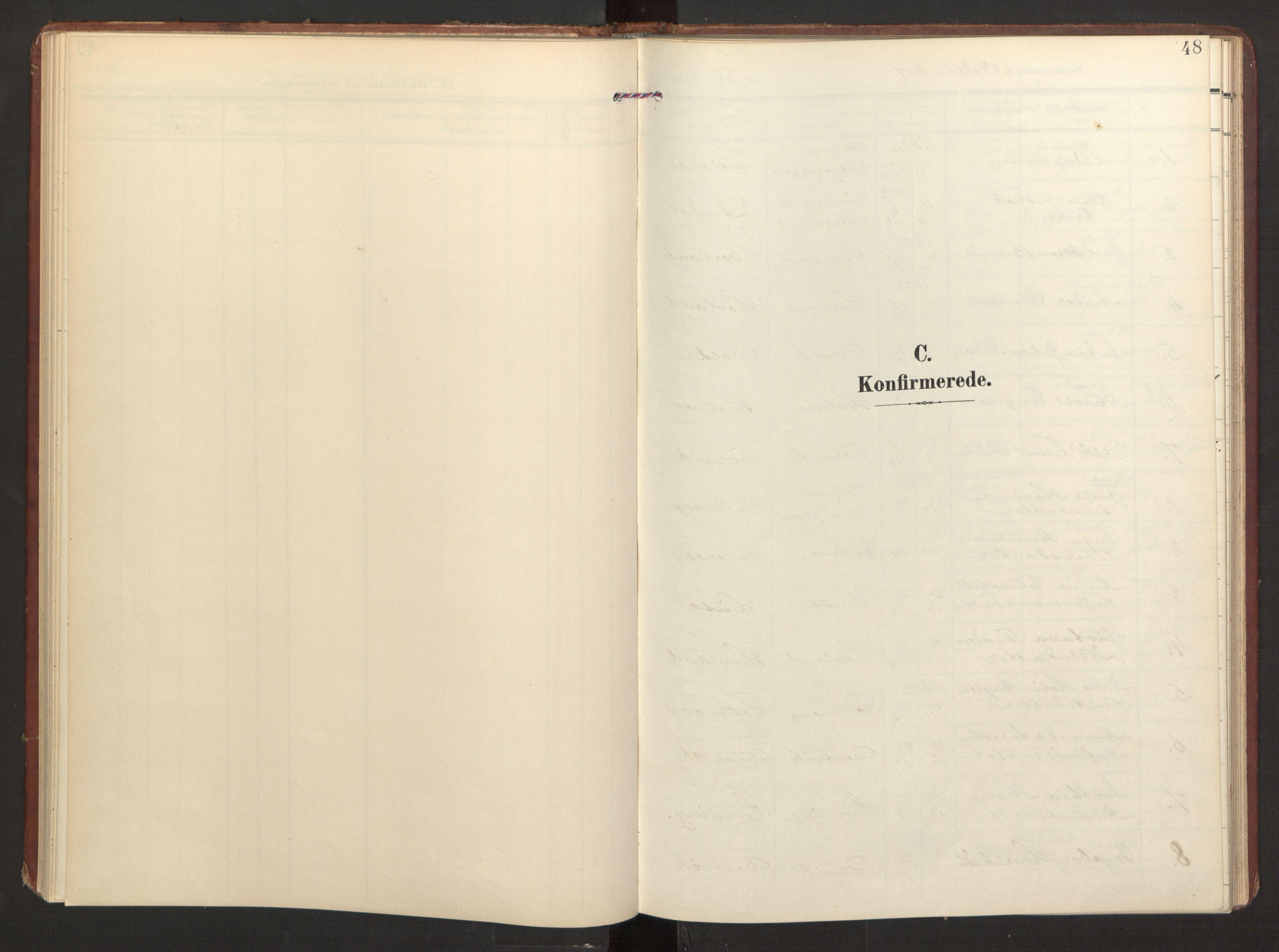SAB, Finnås sokneprestembete, H/Ha/Haa/Haad/L0003: Ministerialbok nr. D 3, 1907-1921, s. 48