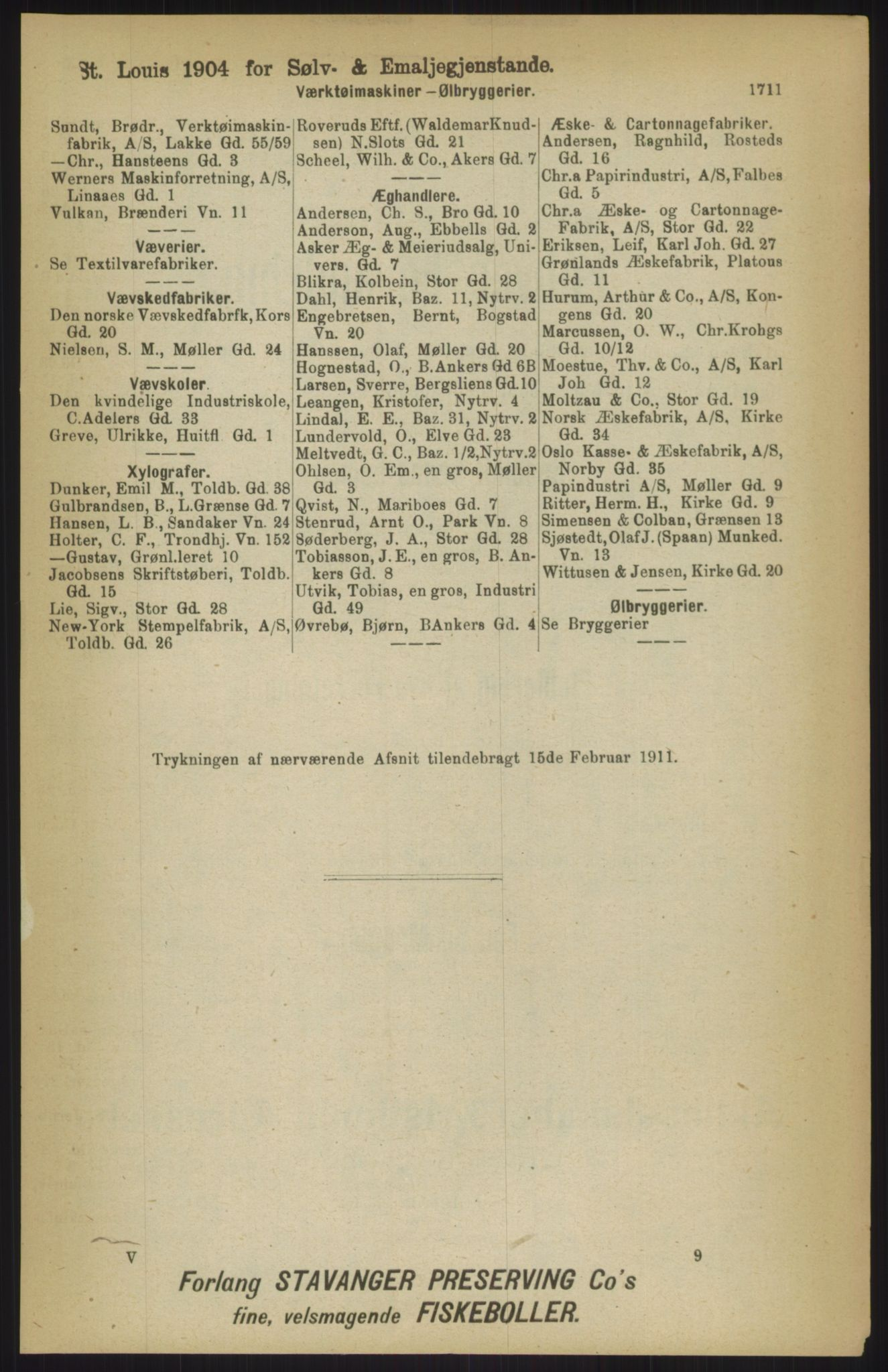 RA, Kristiania adressebok (publikasjon)*, 1911, s. 1711