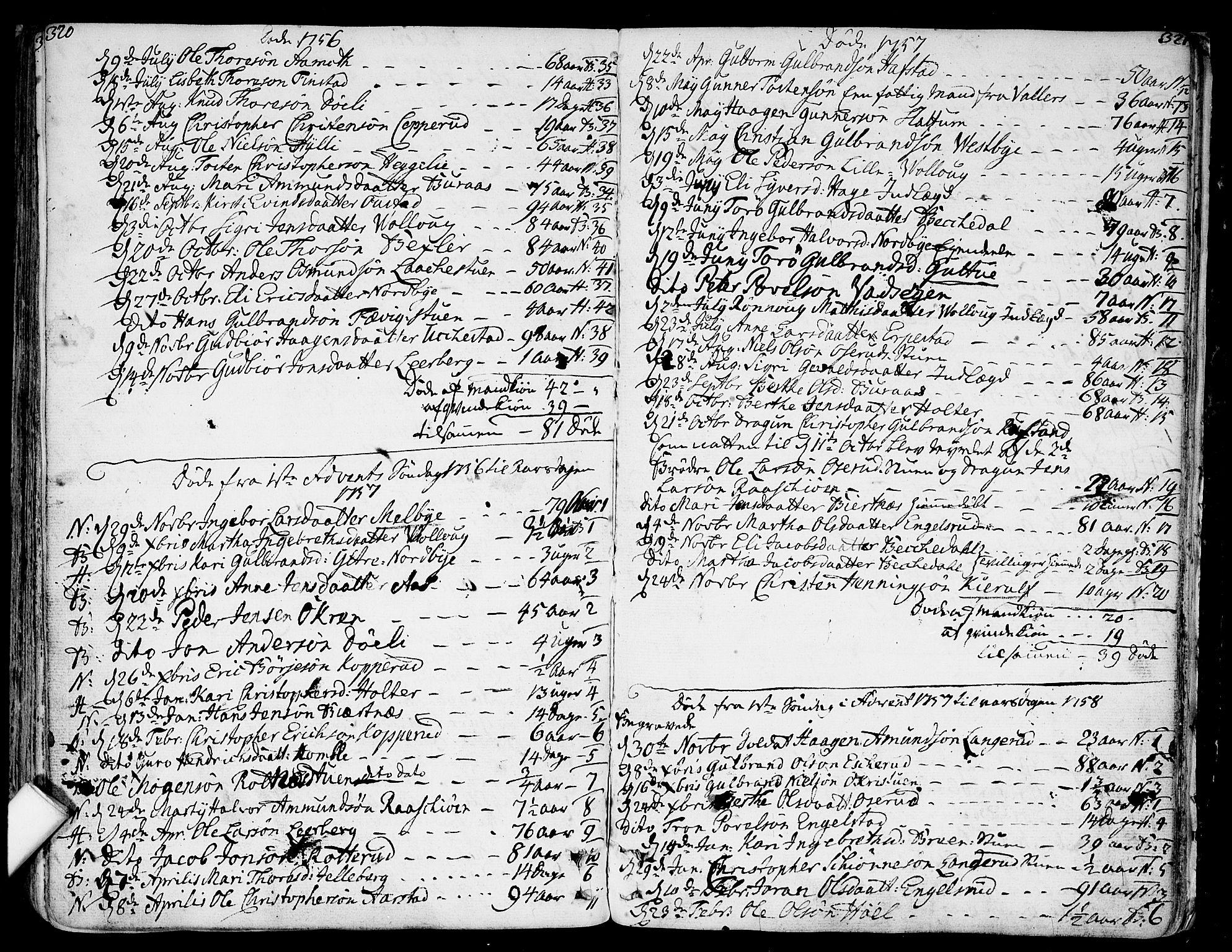 SAO, Nannestad prestekontor Kirkebøker, F/Fa/L0007: Ministerialbok nr. I 7, 1754-1791, s. 320-321