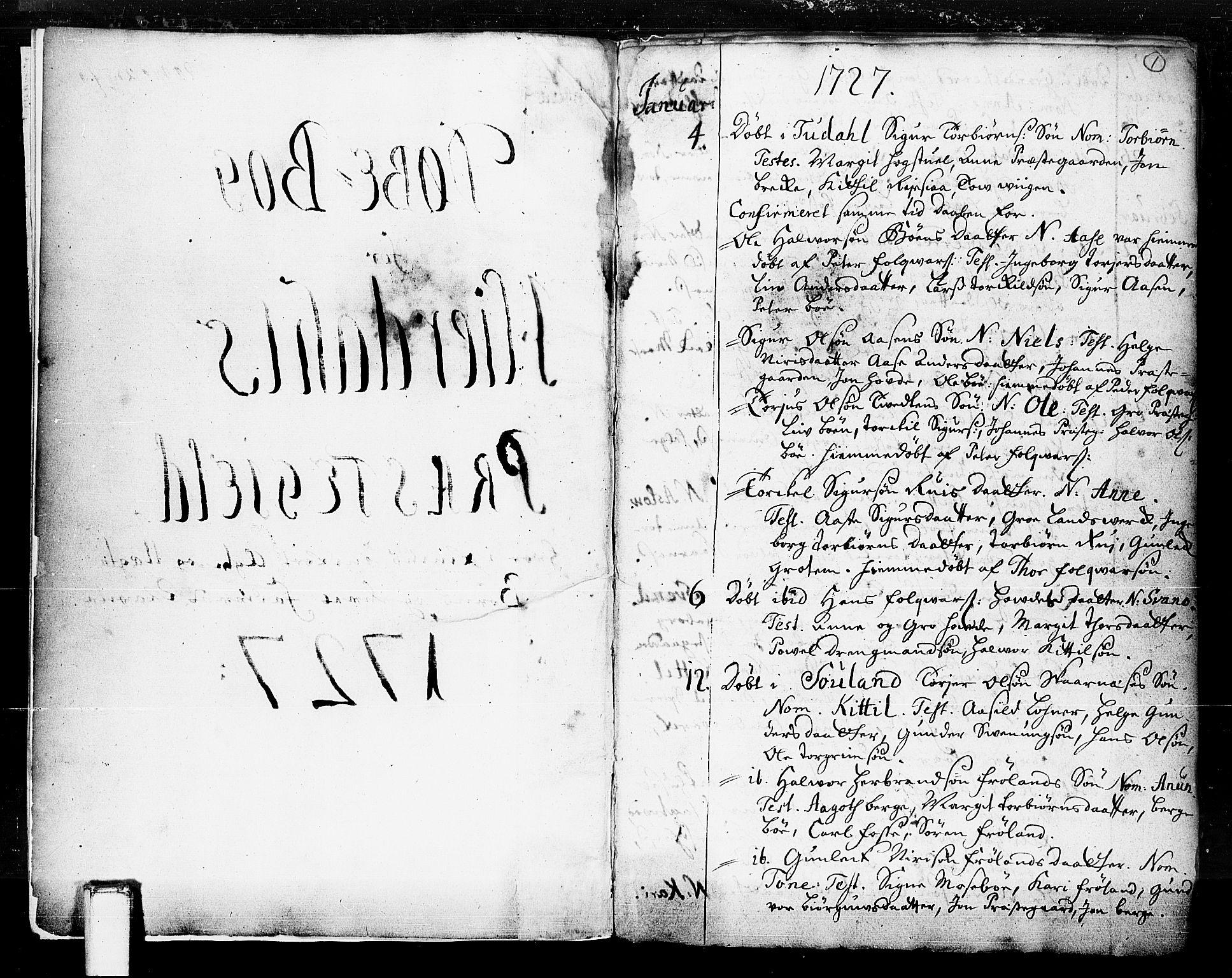 SAKO, Hjartdal kirkebøker, F/Fa/L0003: Ministerialbok nr. I 3, 1727-1775, s. 1