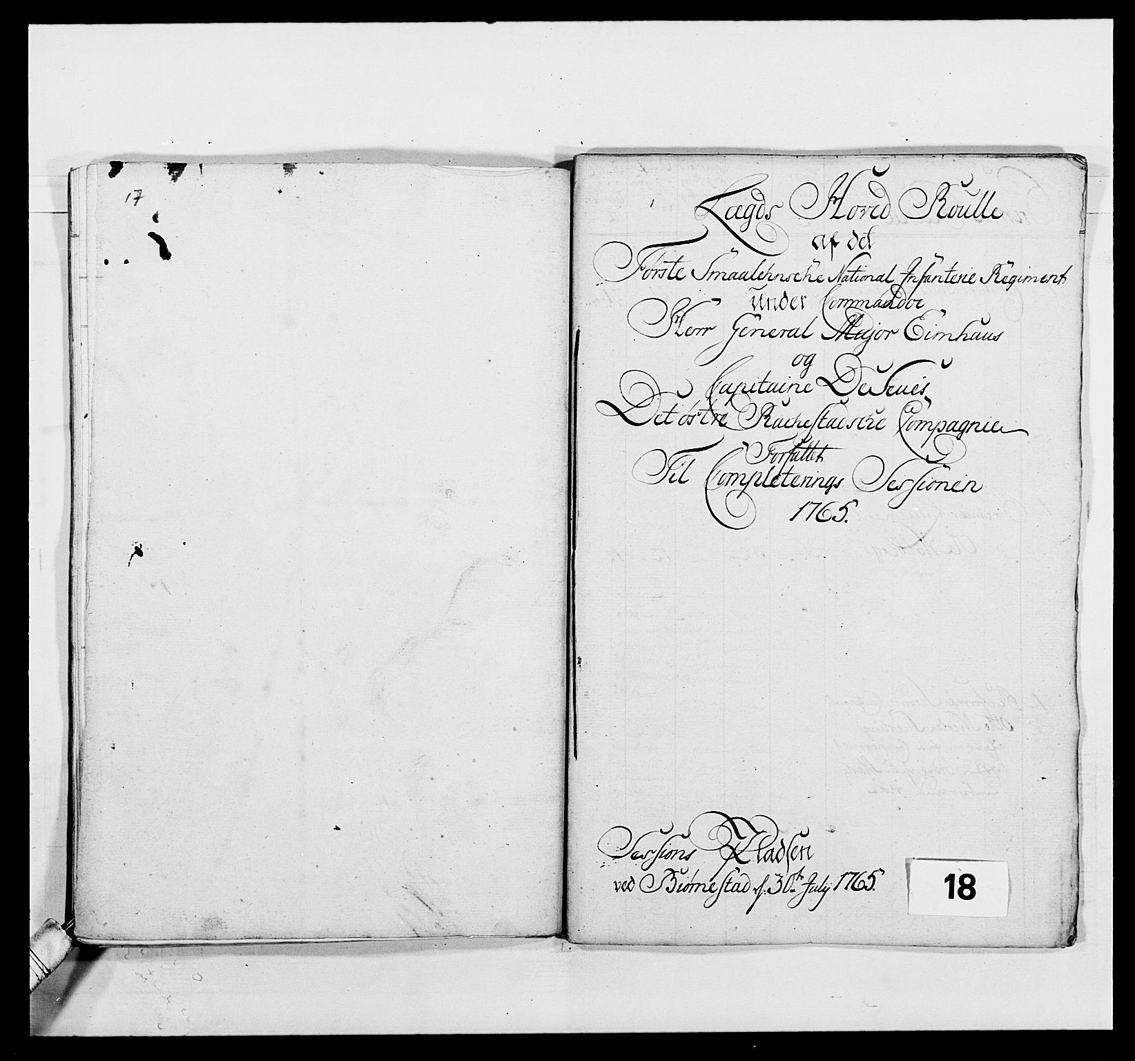 RA, Kommanderende general (KG I) med Det norske krigsdirektorium, E/Ea/L0496: 1. Smålenske regiment, 1765-1767, s. 262