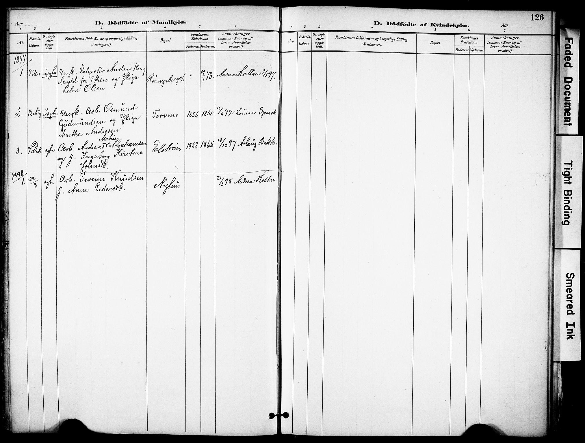 SAKO, Solum kirkebøker, F/Fa/L0010: Ministerialbok nr. I 10, 1888-1898, s. 126