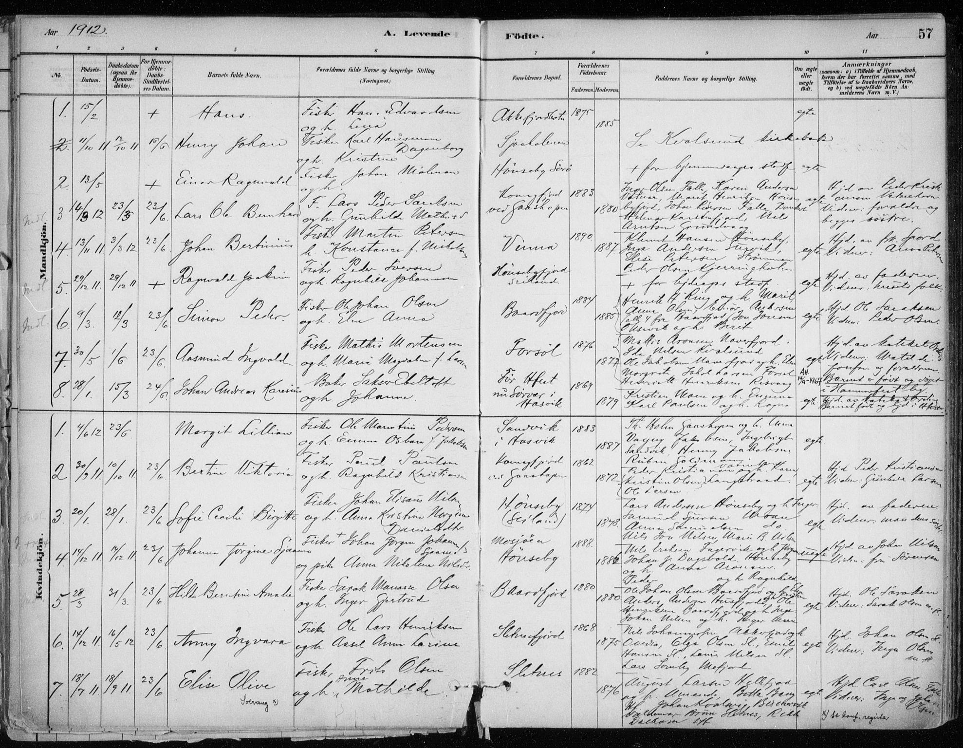 SATØ, Hammerfest sokneprestkontor, H/Ha/L0013.kirke: Ministerialbok nr. 13, 1898-1917, s. 57