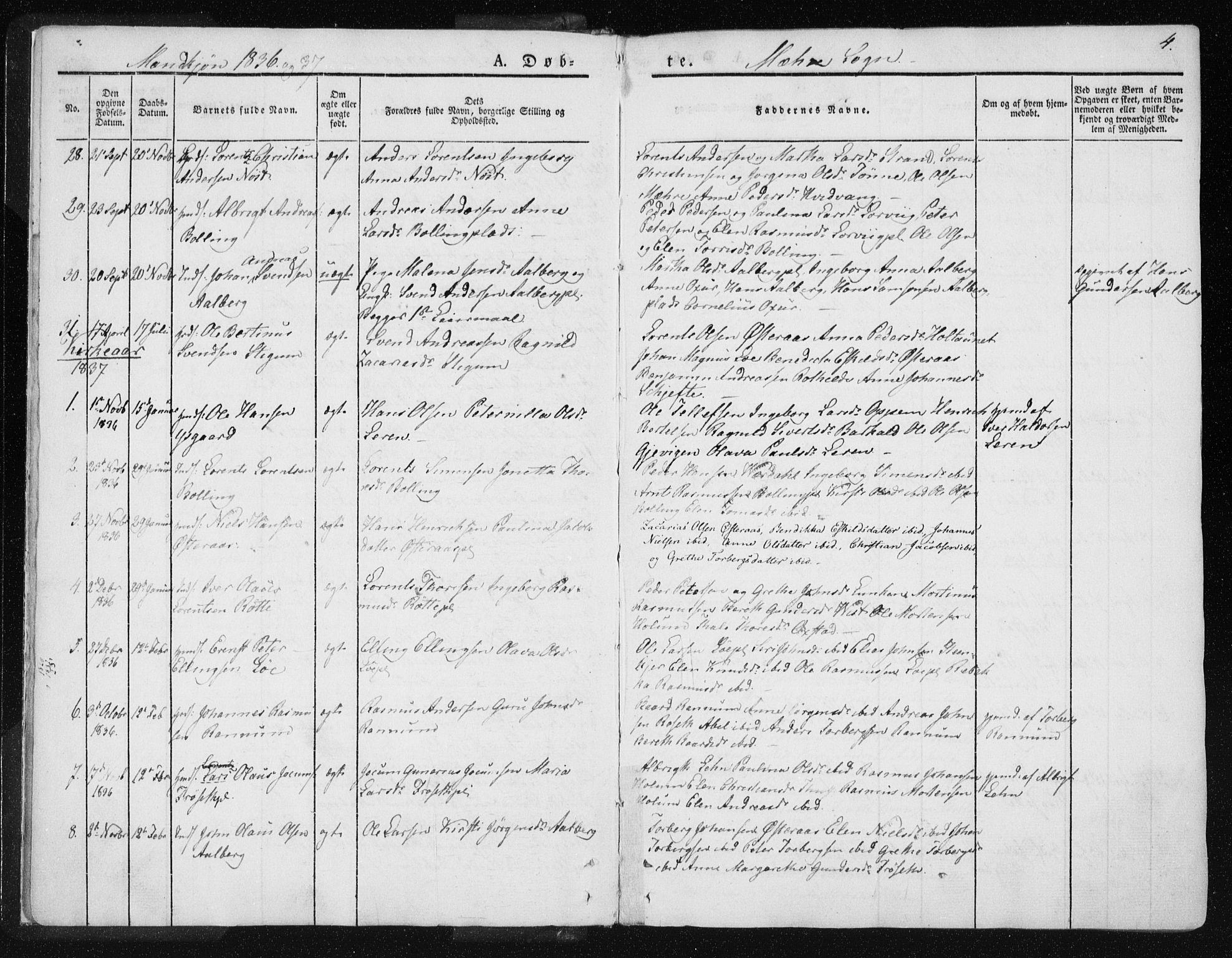SAT, Ministerialprotokoller, klokkerbøker og fødselsregistre - Nord-Trøndelag, 735/L0339: Ministerialbok nr. 735A06 /1, 1836-1848, s. 4