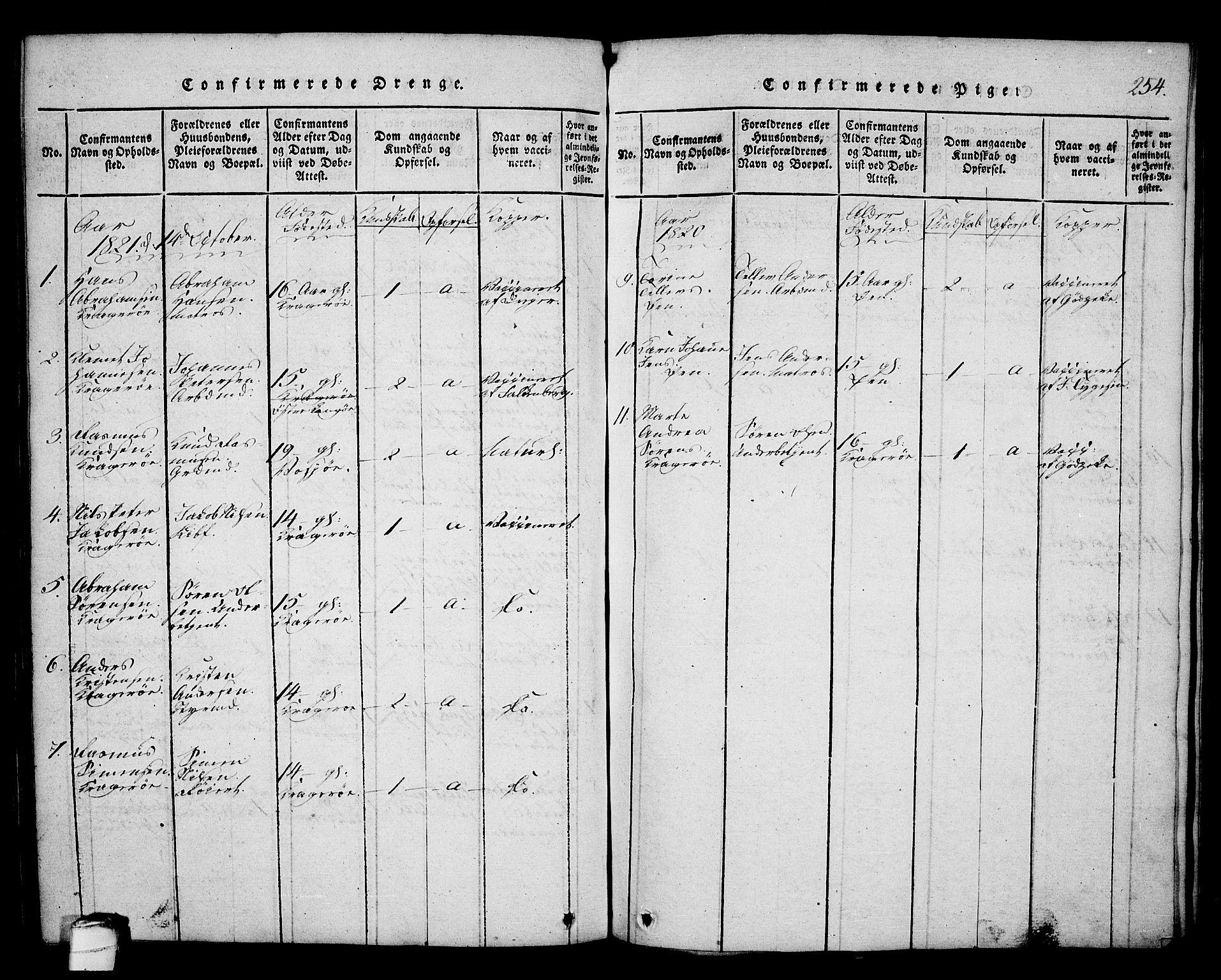 SAKO, Kragerø kirkebøker, G/Ga/L0002: Klokkerbok nr. 2, 1814-1831, s. 254