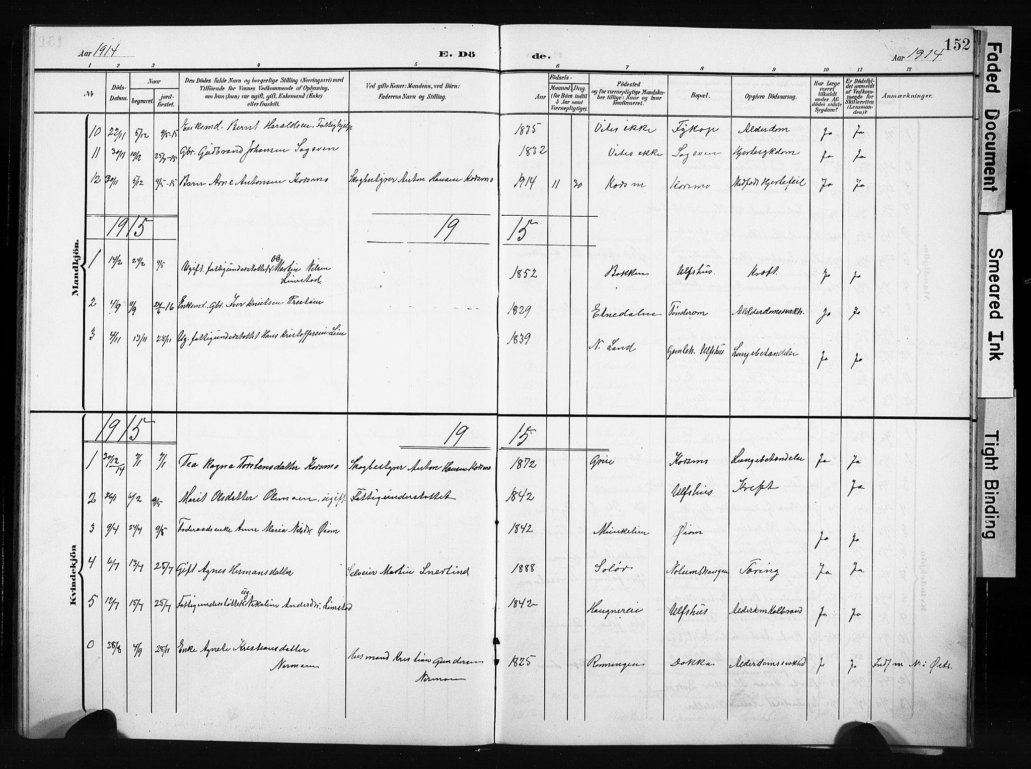 SAH, Nordre Land prestekontor, Klokkerbok nr. 6, 1905-1929, s. 152