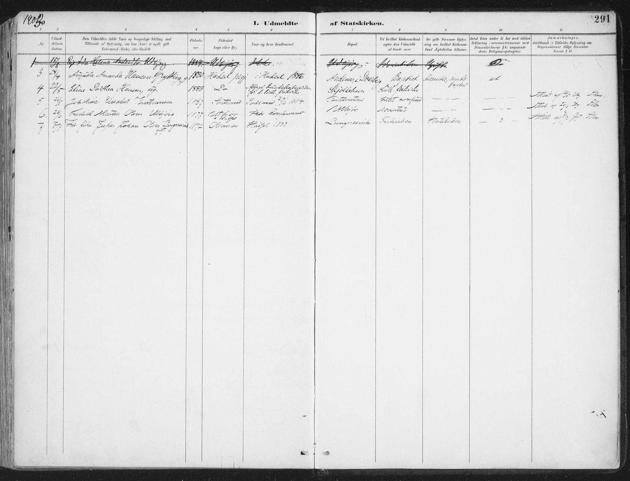 SAT, Ministerialprotokoller, klokkerbøker og fødselsregistre - Nordland, 888/L1246: Ministerialbok nr. 888A12, 1891-1903, s. 291