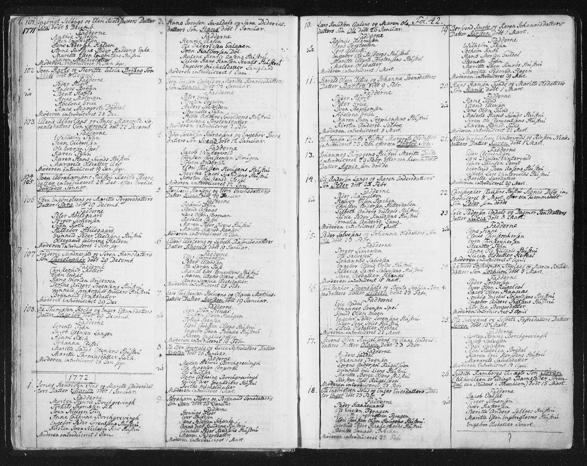 SAT, Ministerialprotokoller, klokkerbøker og fødselsregistre - Sør-Trøndelag, 681/L0926: Ministerialbok nr. 681A04, 1767-1797, s. 42