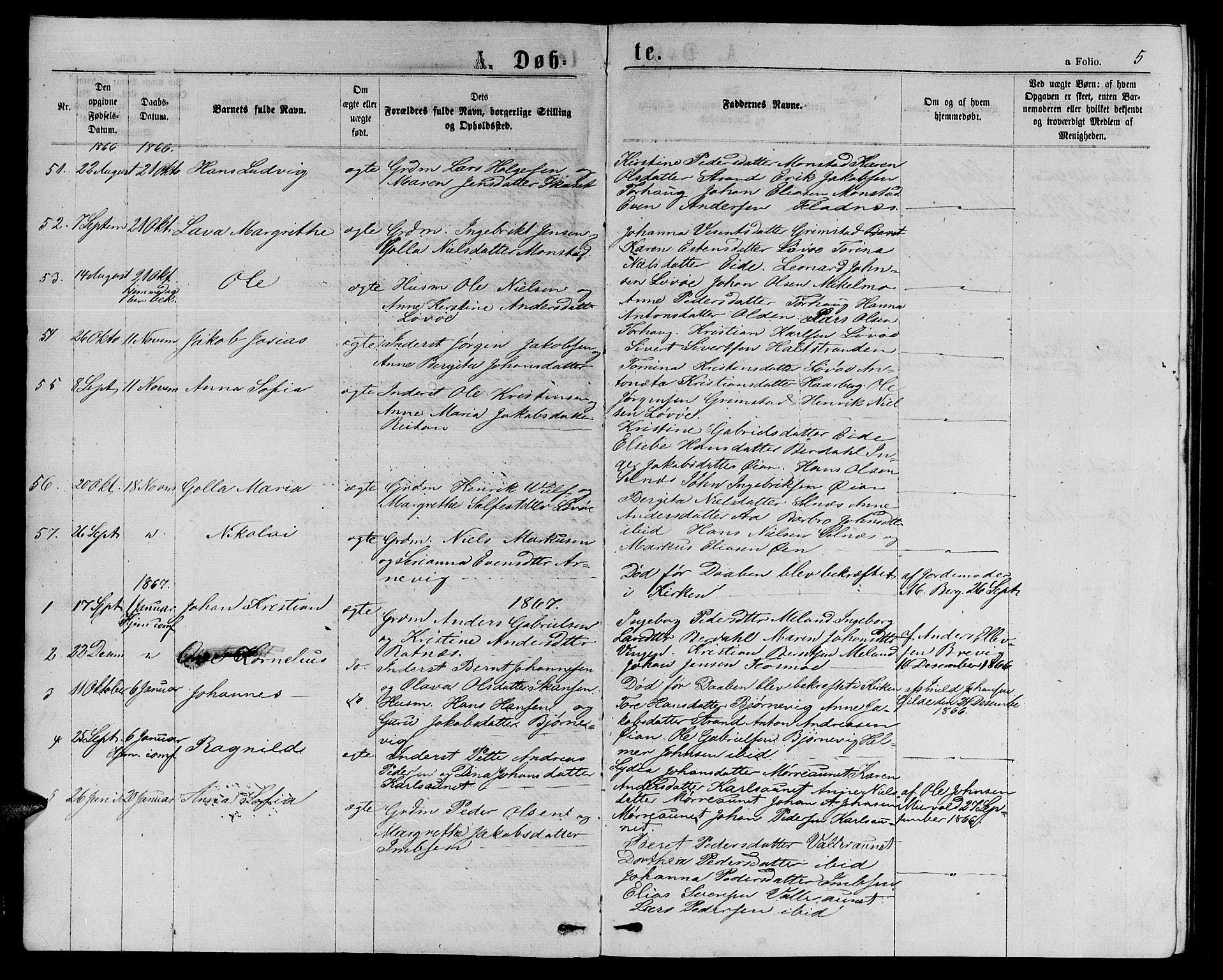 SAT, Ministerialprotokoller, klokkerbøker og fødselsregistre - Sør-Trøndelag, 655/L0686: Klokkerbok nr. 655C02, 1866-1879, s. 5