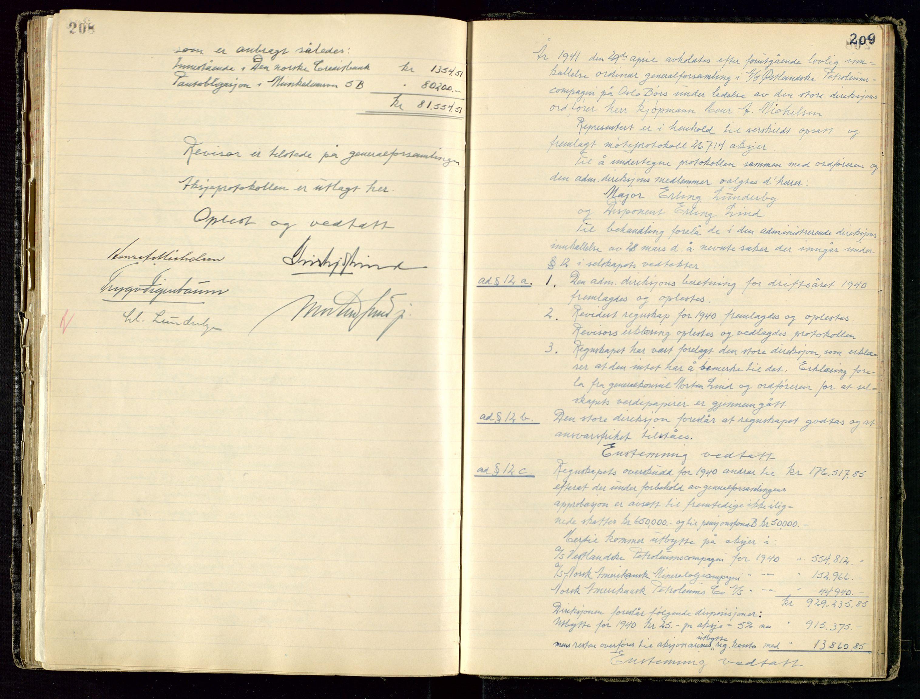 SAST, PA 1534 - Østlandske Petroleumscompagni A/S, A/Aa/L0001: Generalforsamlinger og direksjonsprotokoller., 1892-1960, s. 208-209
