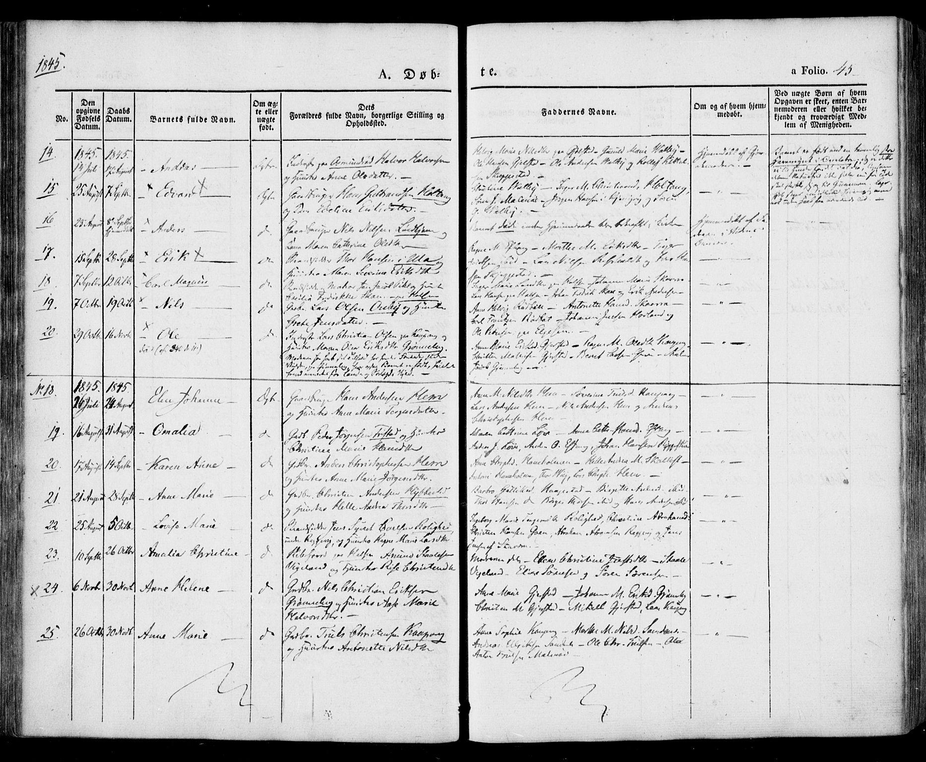 SAKO, Tjølling kirkebøker, F/Fa/L0006: Ministerialbok nr. 6, 1835-1859, s. 45