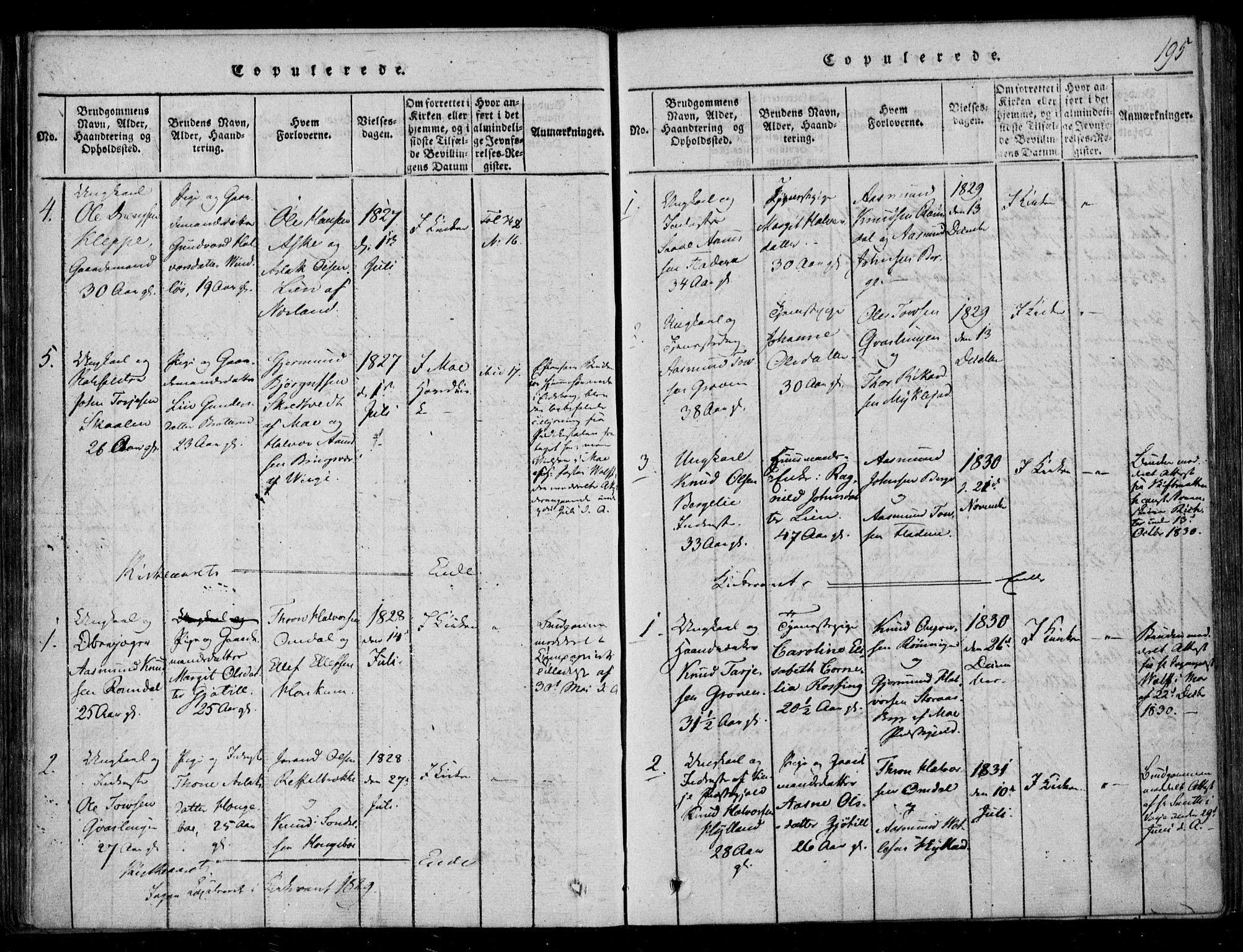 SAKO, Lårdal kirkebøker, F/Fb/L0001: Ministerialbok nr. II 1, 1815-1860, s. 195