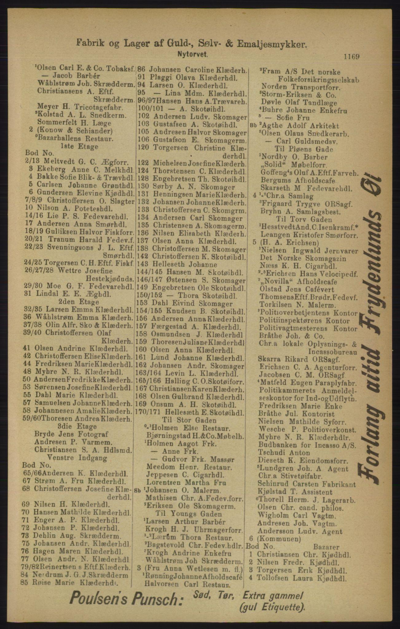 PUBL, Kristiania/Oslo adressebok, 1906, s. 1169