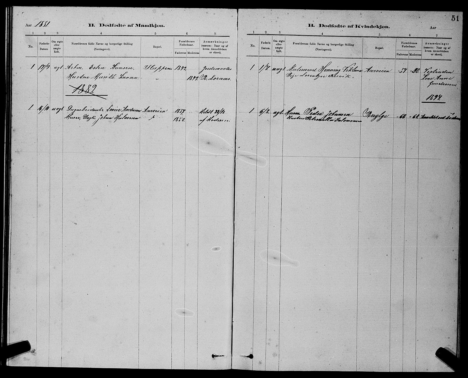 SAT, Ministerialprotokoller, klokkerbøker og fødselsregistre - Sør-Trøndelag, 611/L0354: Klokkerbok nr. 611C02, 1881-1896, s. 51