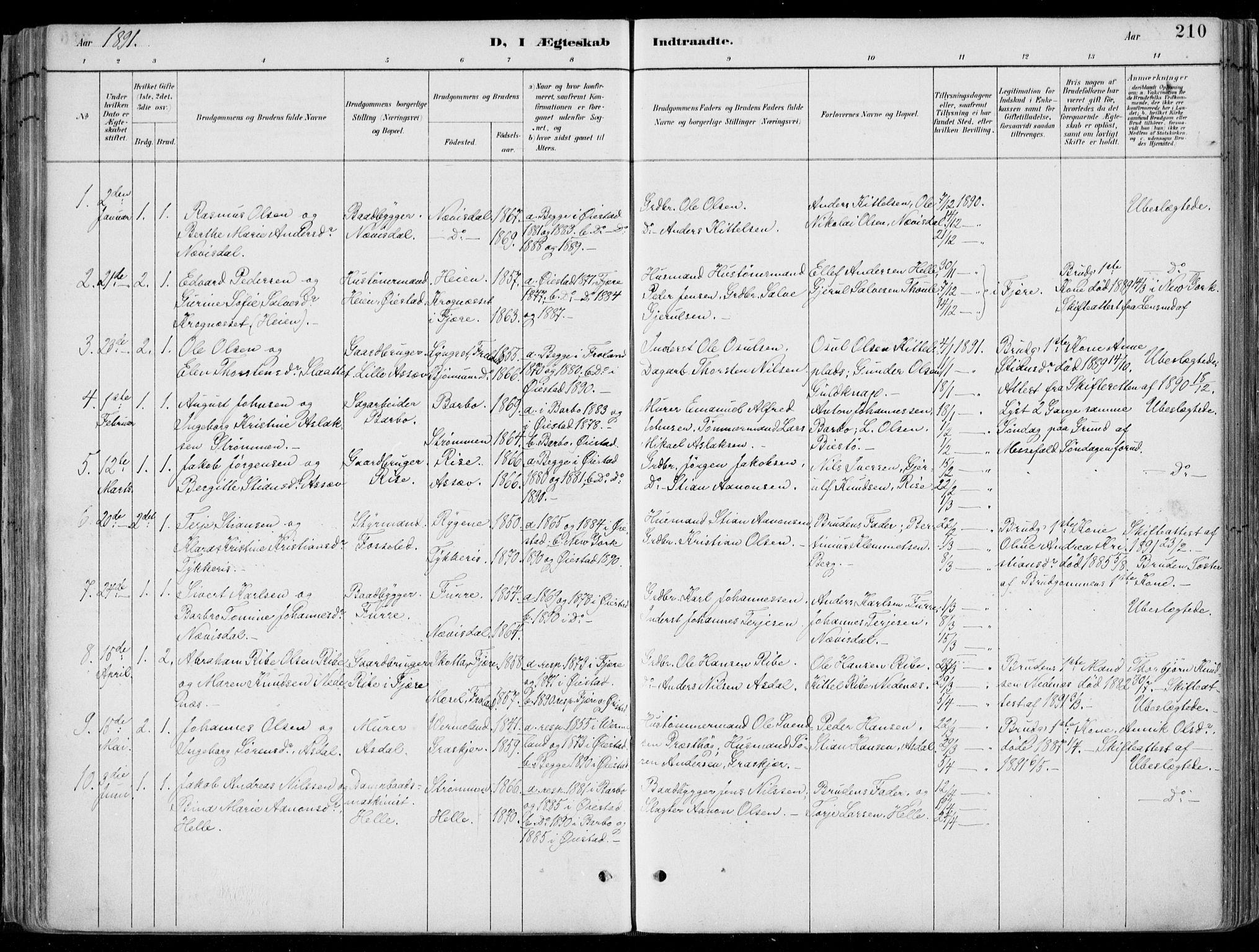 SAK, Øyestad sokneprestkontor, F/Fa/L0017: Ministerialbok nr. A 17, 1887-1896, s. 210