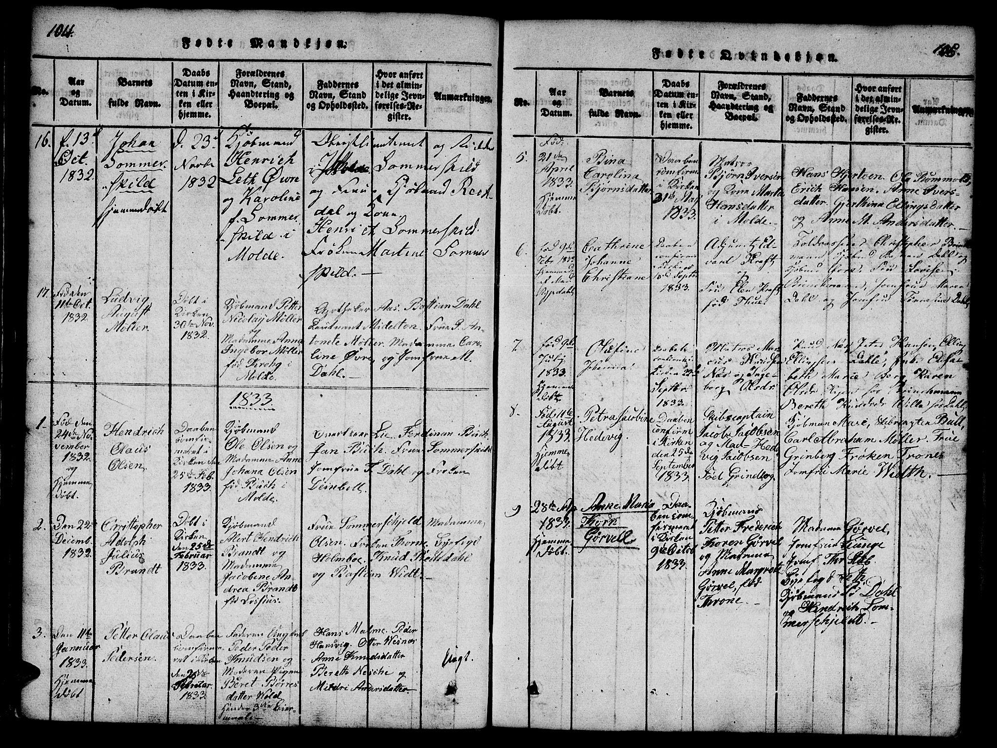 SAT, Ministerialprotokoller, klokkerbøker og fødselsregistre - Møre og Romsdal, 558/L0688: Ministerialbok nr. 558A02, 1818-1843, s. 104-105