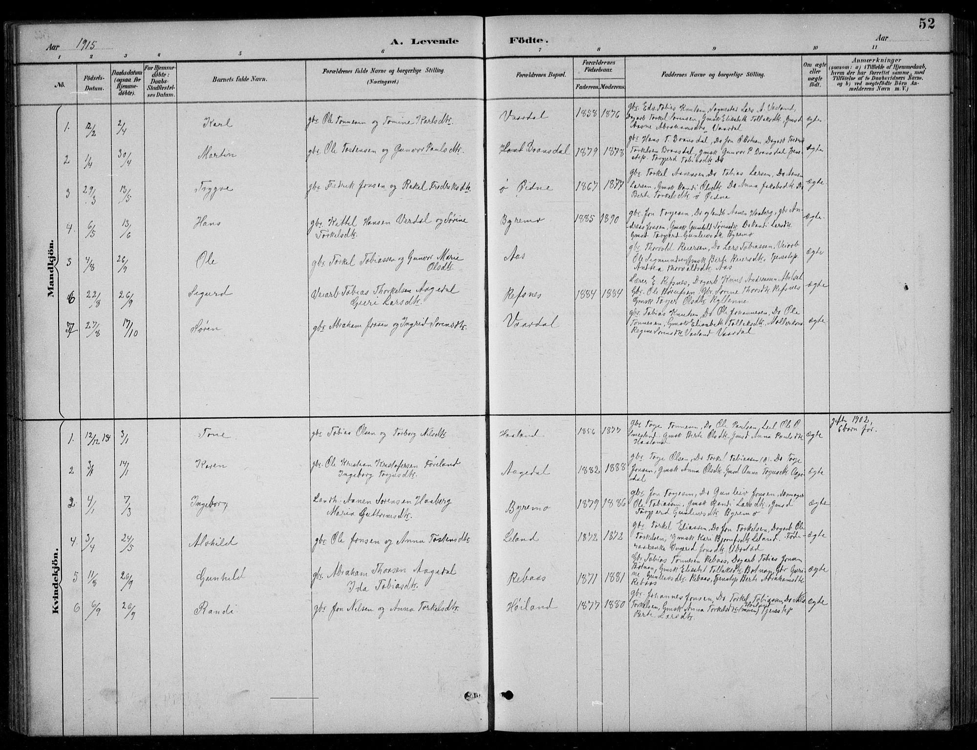 SAK, Bjelland sokneprestkontor, F/Fb/Fbc/L0003: Klokkerbok nr. B 3, 1887-1924, s. 52
