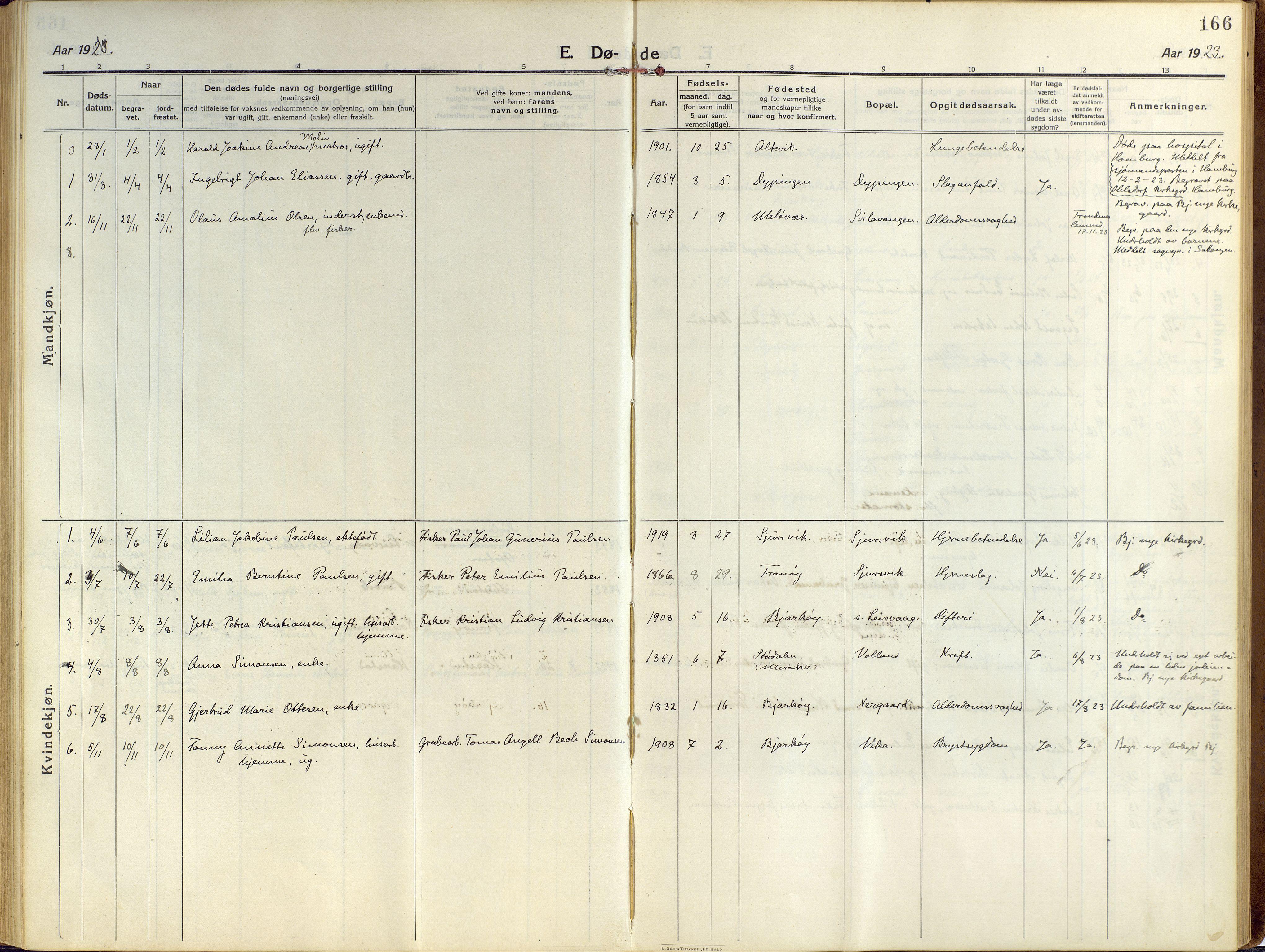 SATØ, Sand/Bjarkøy sokneprestkontor, I/Ia/Iaa/L0006kirke: Ministerialbok nr. 6, 1915-1929, s. 166