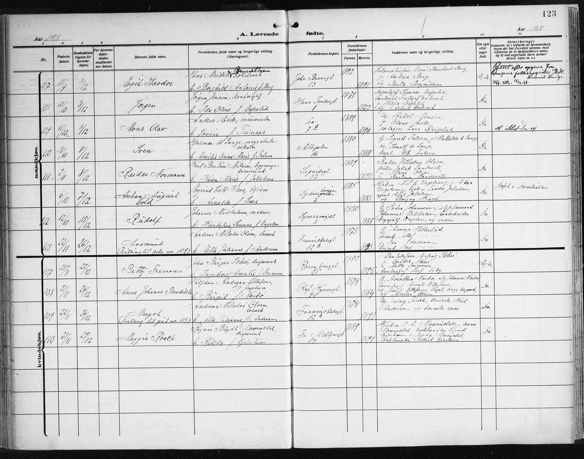 SAB, Johanneskirken Sokneprestembete, H/Haa: Ministerialbok nr. A 3, 1913-1934, s. 123