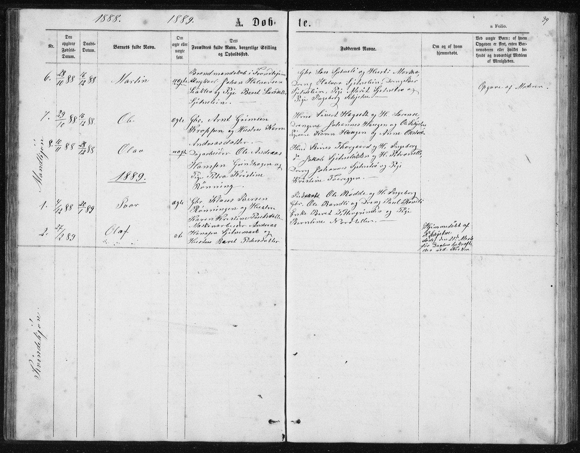 SAT, Ministerialprotokoller, klokkerbøker og fødselsregistre - Sør-Trøndelag, 621/L0459: Klokkerbok nr. 621C02, 1866-1895, s. 39