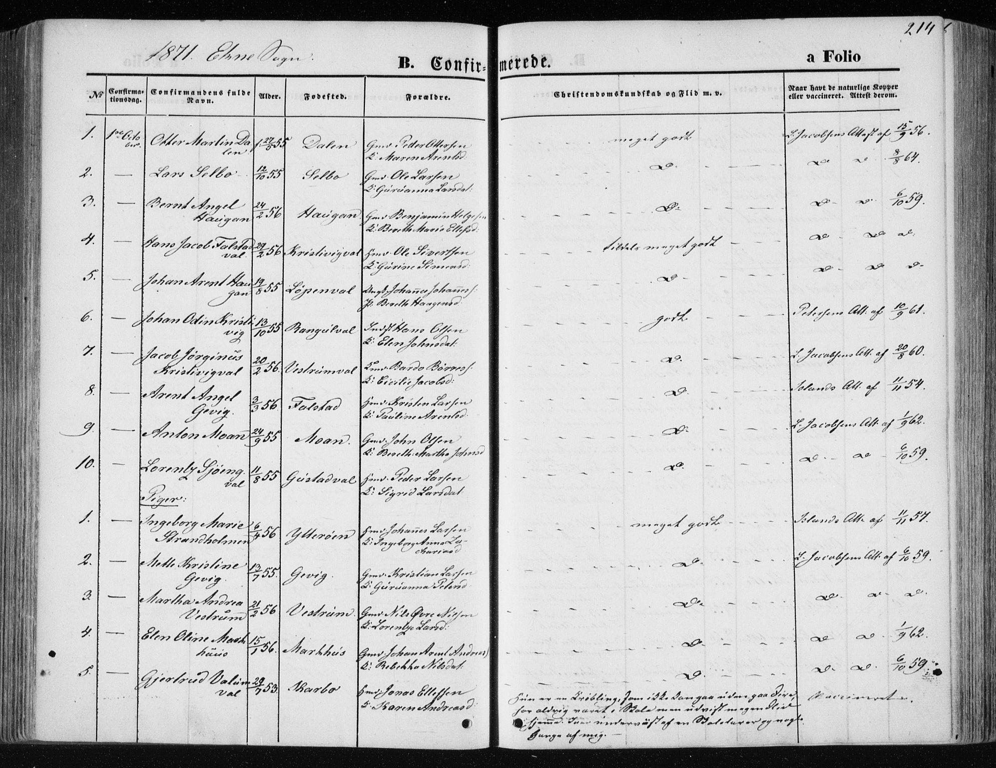 SAT, Ministerialprotokoller, klokkerbøker og fødselsregistre - Nord-Trøndelag, 717/L0157: Ministerialbok nr. 717A08 /1, 1863-1877, s. 214
