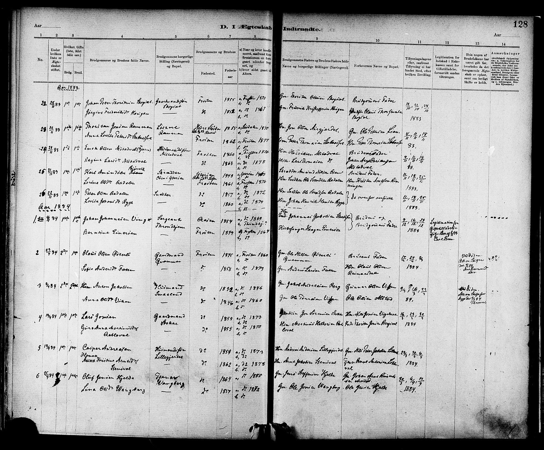 SAT, Ministerialprotokoller, klokkerbøker og fødselsregistre - Nord-Trøndelag, 713/L0120: Ministerialbok nr. 713A09, 1878-1887, s. 128