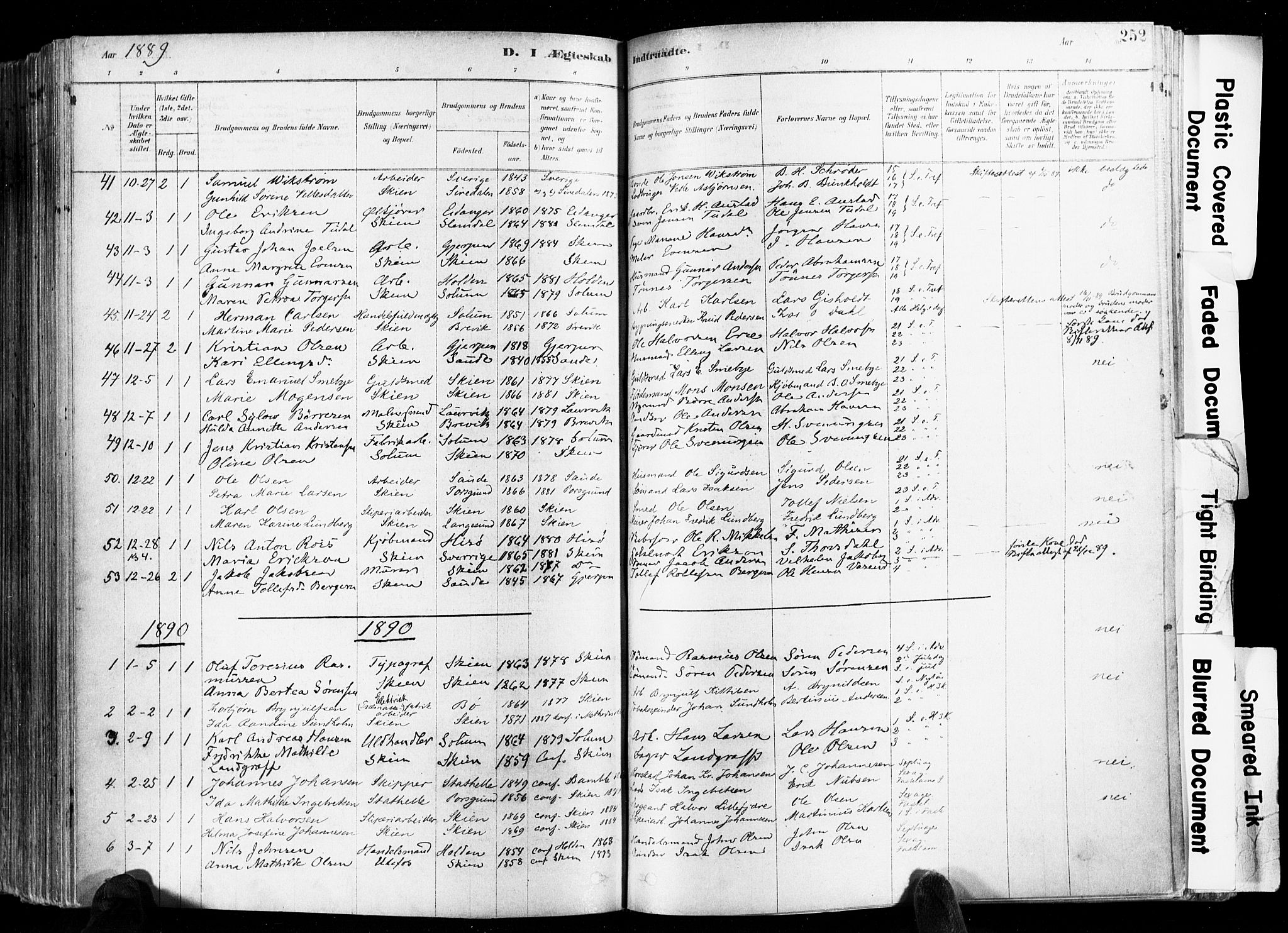 SAKO, Skien kirkebøker, F/Fa/L0009: Ministerialbok nr. 9, 1878-1890, s. 252