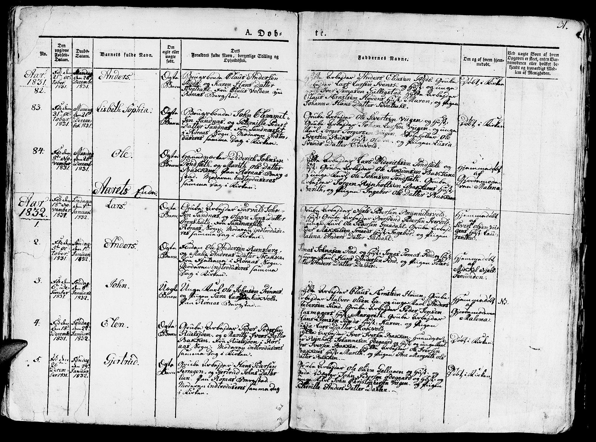 SAT, Ministerialprotokoller, klokkerbøker og fødselsregistre - Sør-Trøndelag, 681/L0938: Klokkerbok nr. 681C02, 1829-1879, s. 31