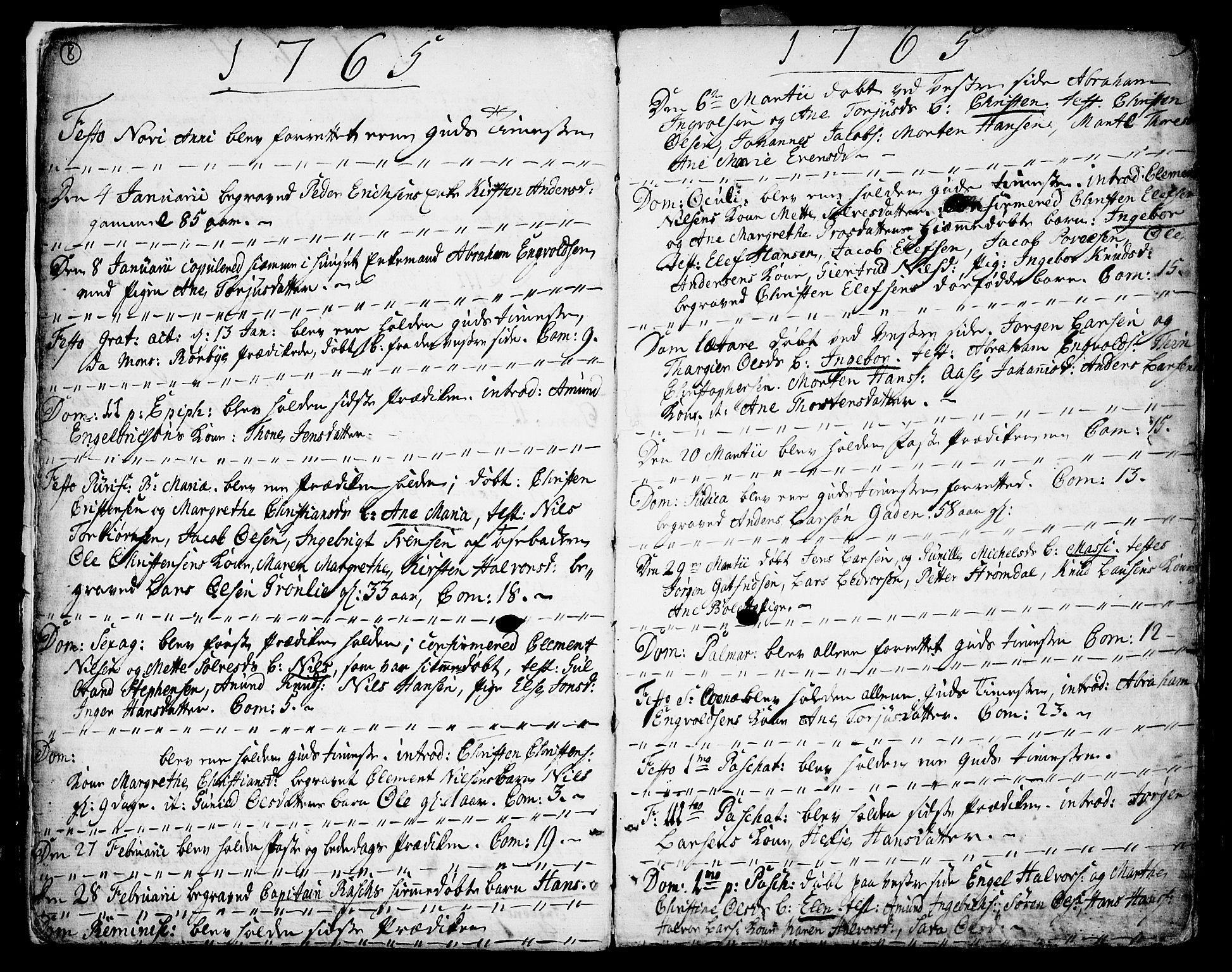 SAKO, Porsgrunn kirkebøker , F/Fa/L0002: Ministerialbok nr. 2, 1764-1814, s. 8-9