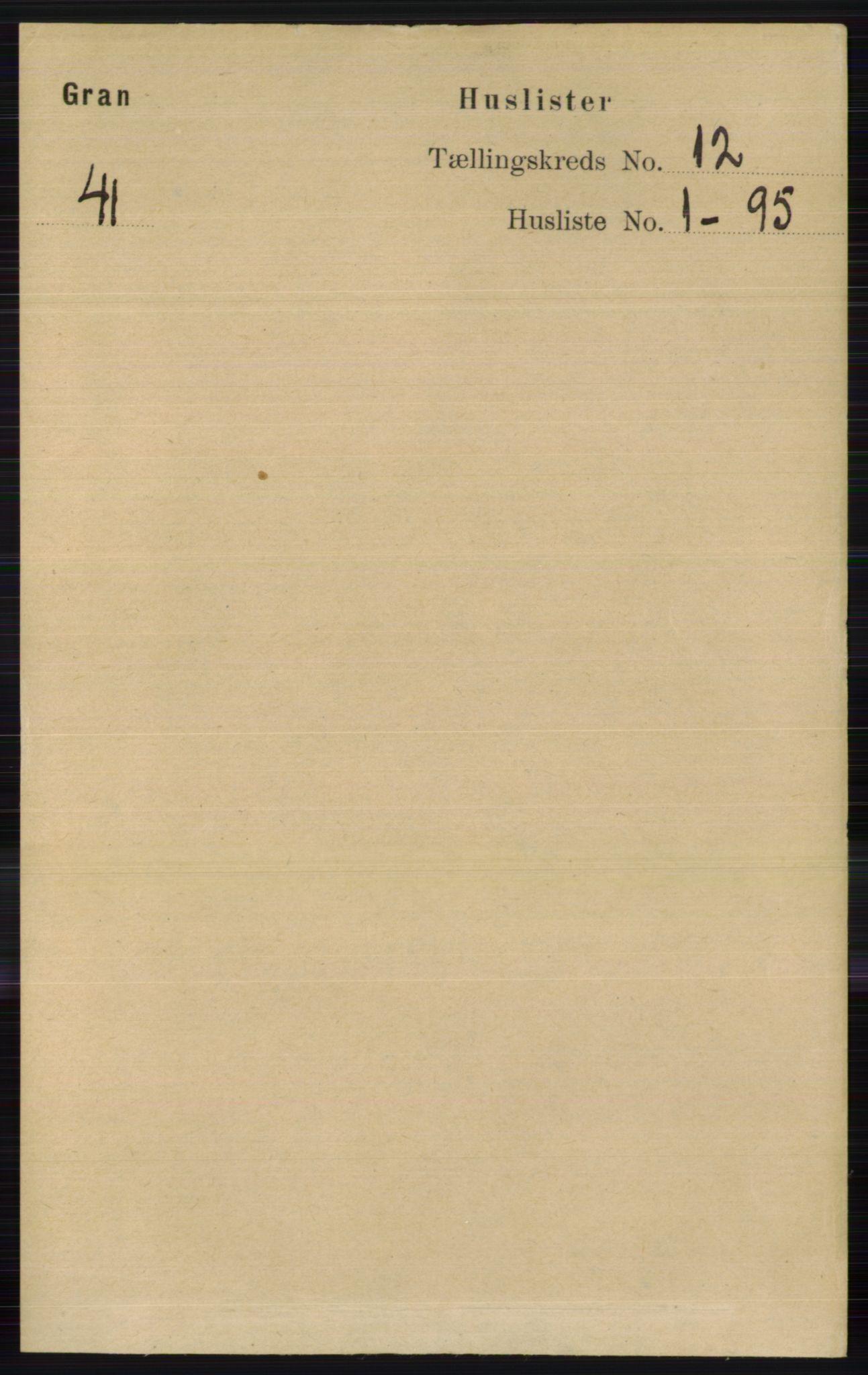 RA, Folketelling 1891 for 0534 Gran herred, 1891, s. 6078