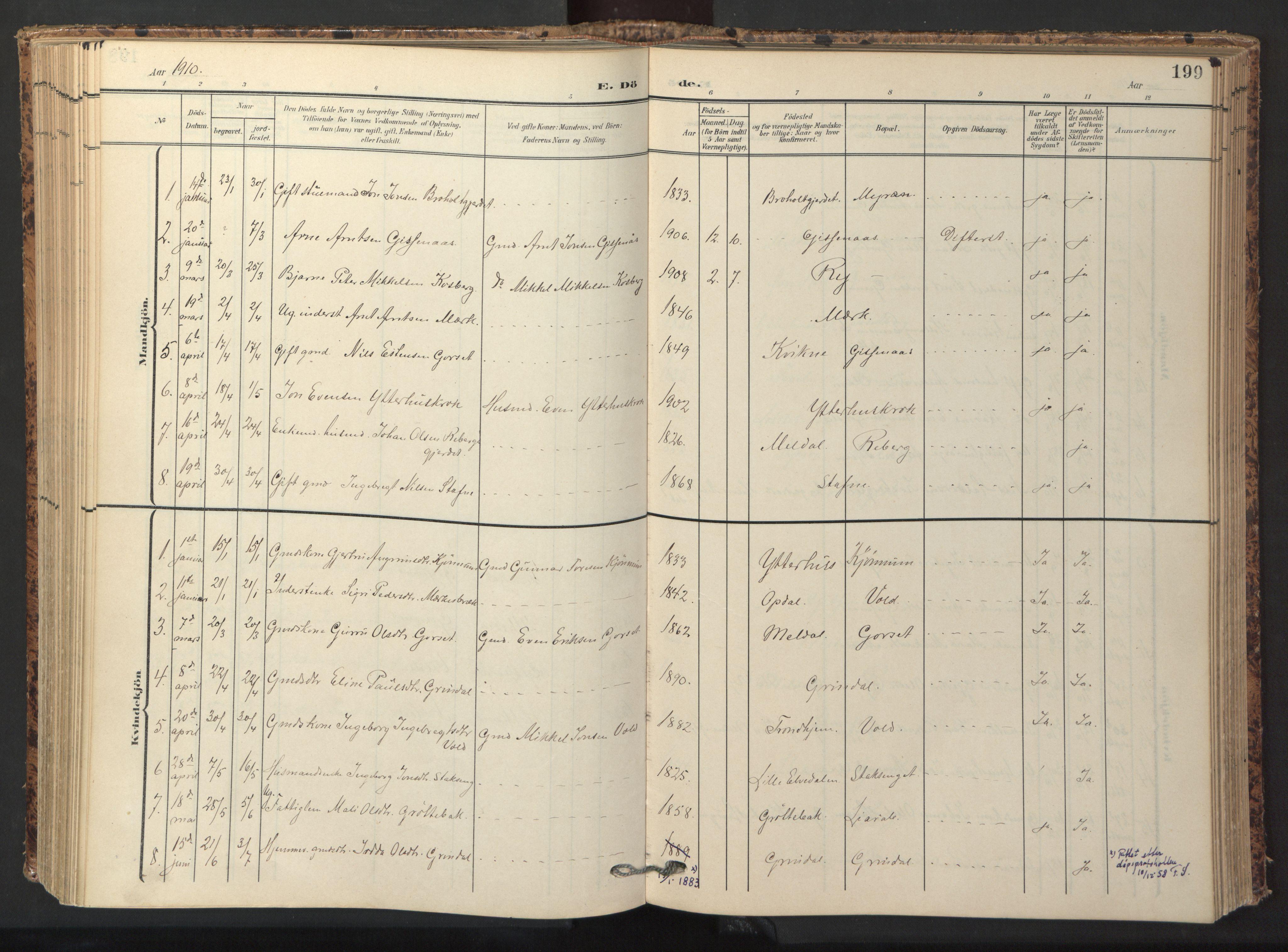 SAT, Ministerialprotokoller, klokkerbøker og fødselsregistre - Sør-Trøndelag, 674/L0873: Ministerialbok nr. 674A05, 1908-1923, s. 199