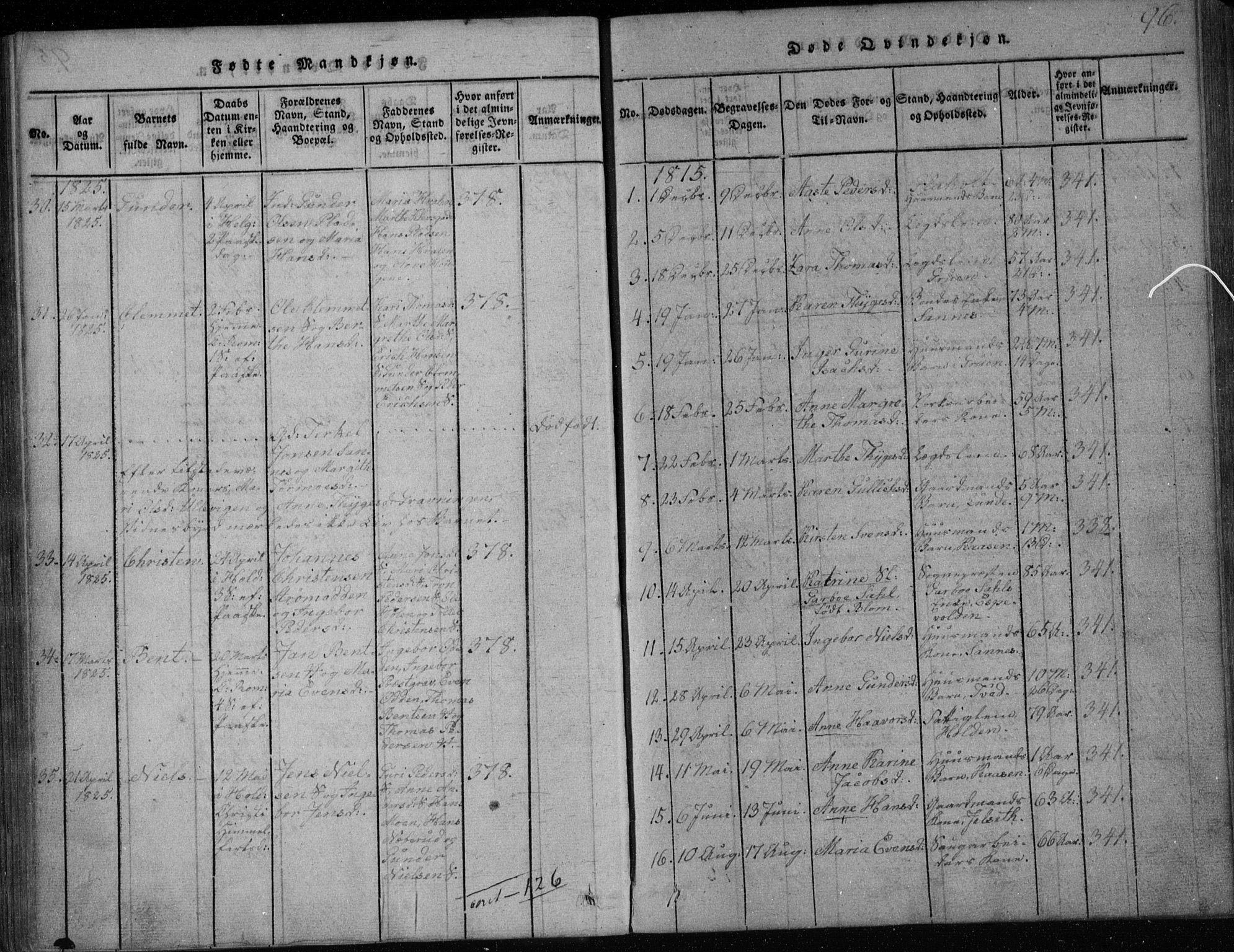 SAKO, Holla kirkebøker, F/Fa/L0003: Ministerialbok nr. 3, 1815-1830, s. 96