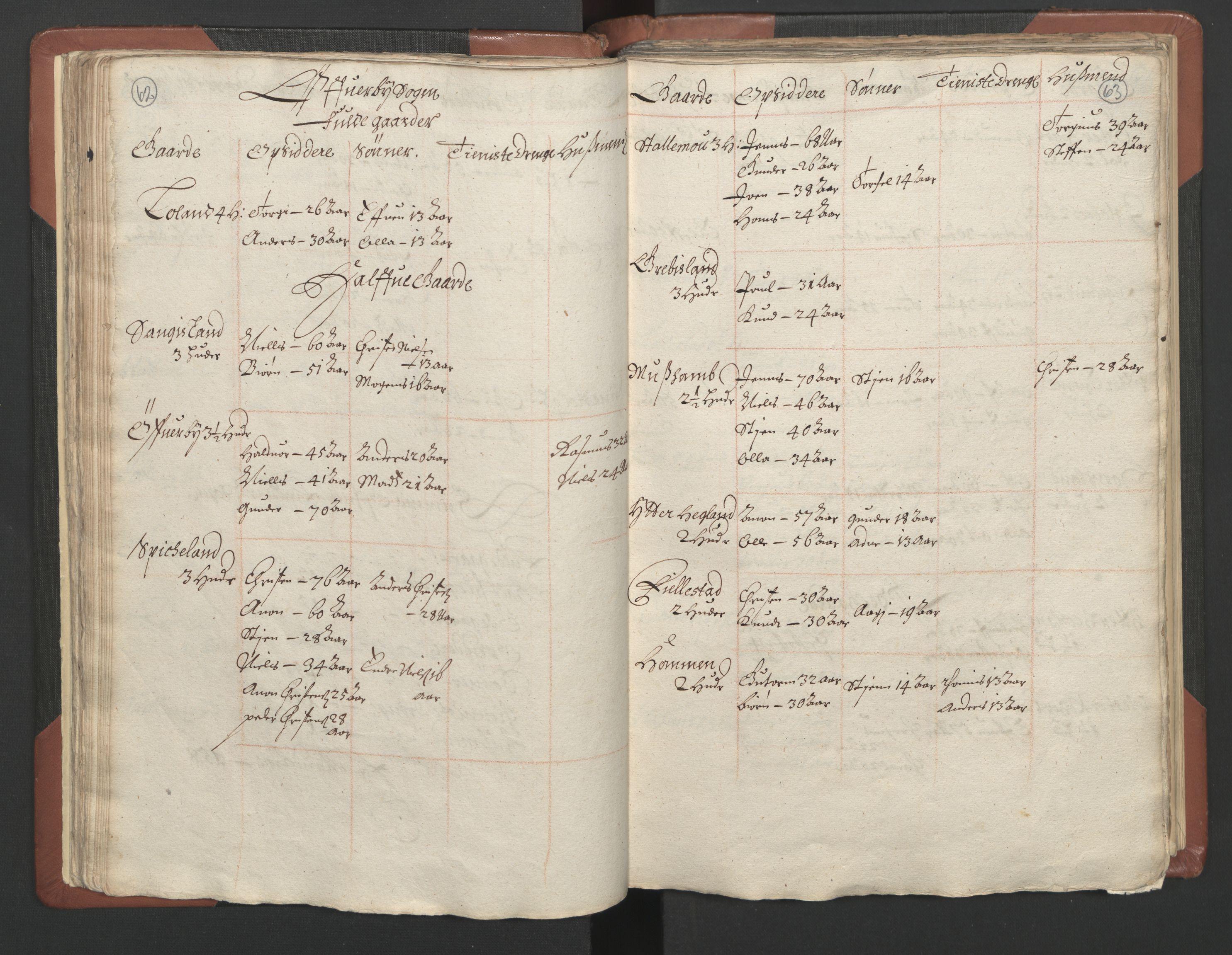 RA, Fogdenes og sorenskrivernes manntall 1664-1666, nr. 9: Mandal len, 1664-1666, s. 62-63