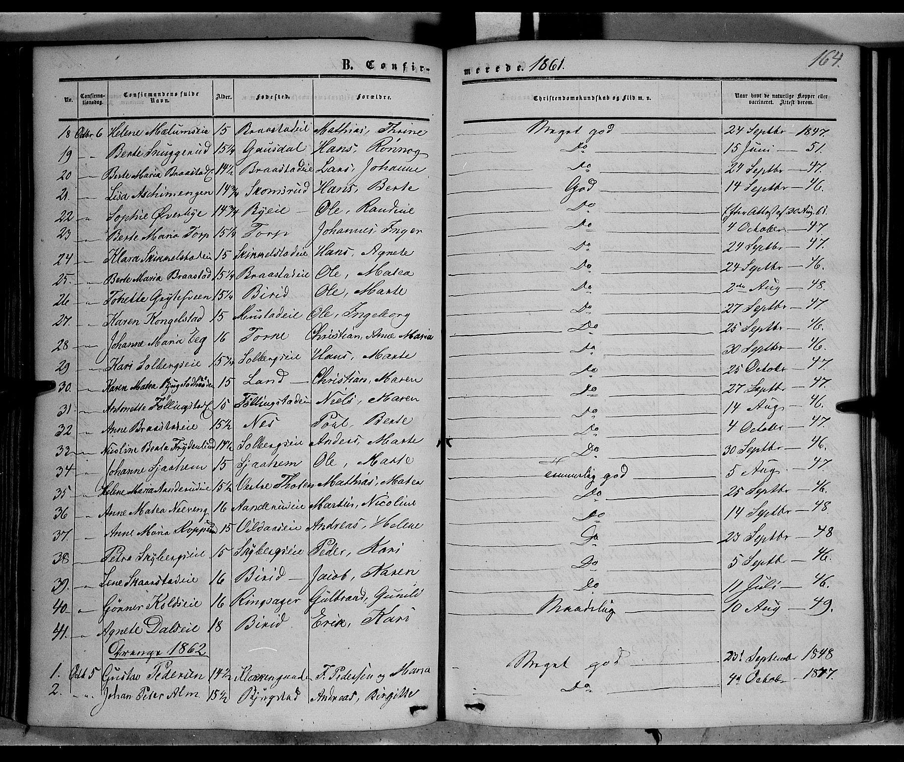 SAH, Vardal prestekontor, H/Ha/Haa/L0006: Ministerialbok nr. 6, 1854-1866, s. 164