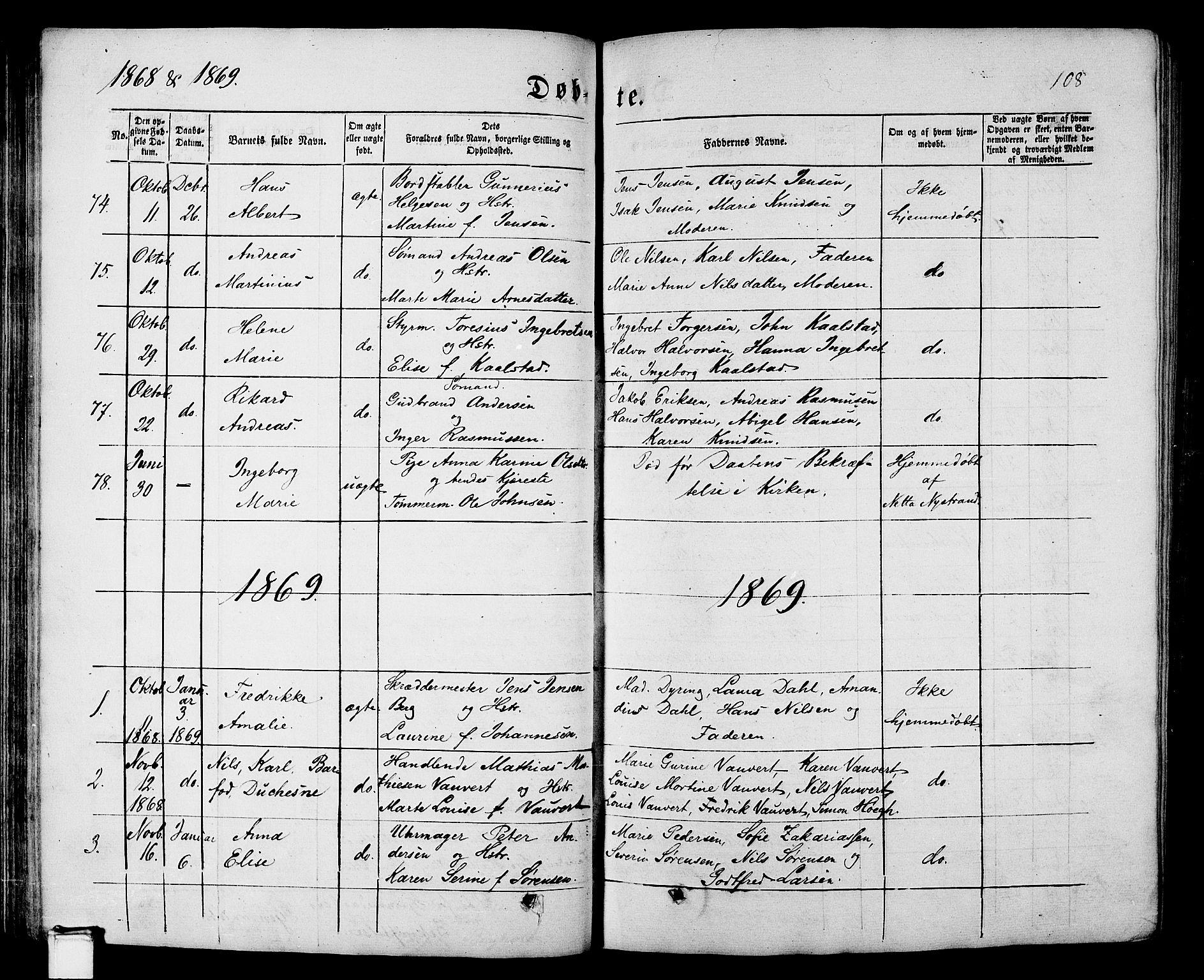 SAKO, Porsgrunn kirkebøker , G/Gb/L0004: Klokkerbok nr. II 4, 1853-1882, s. 108
