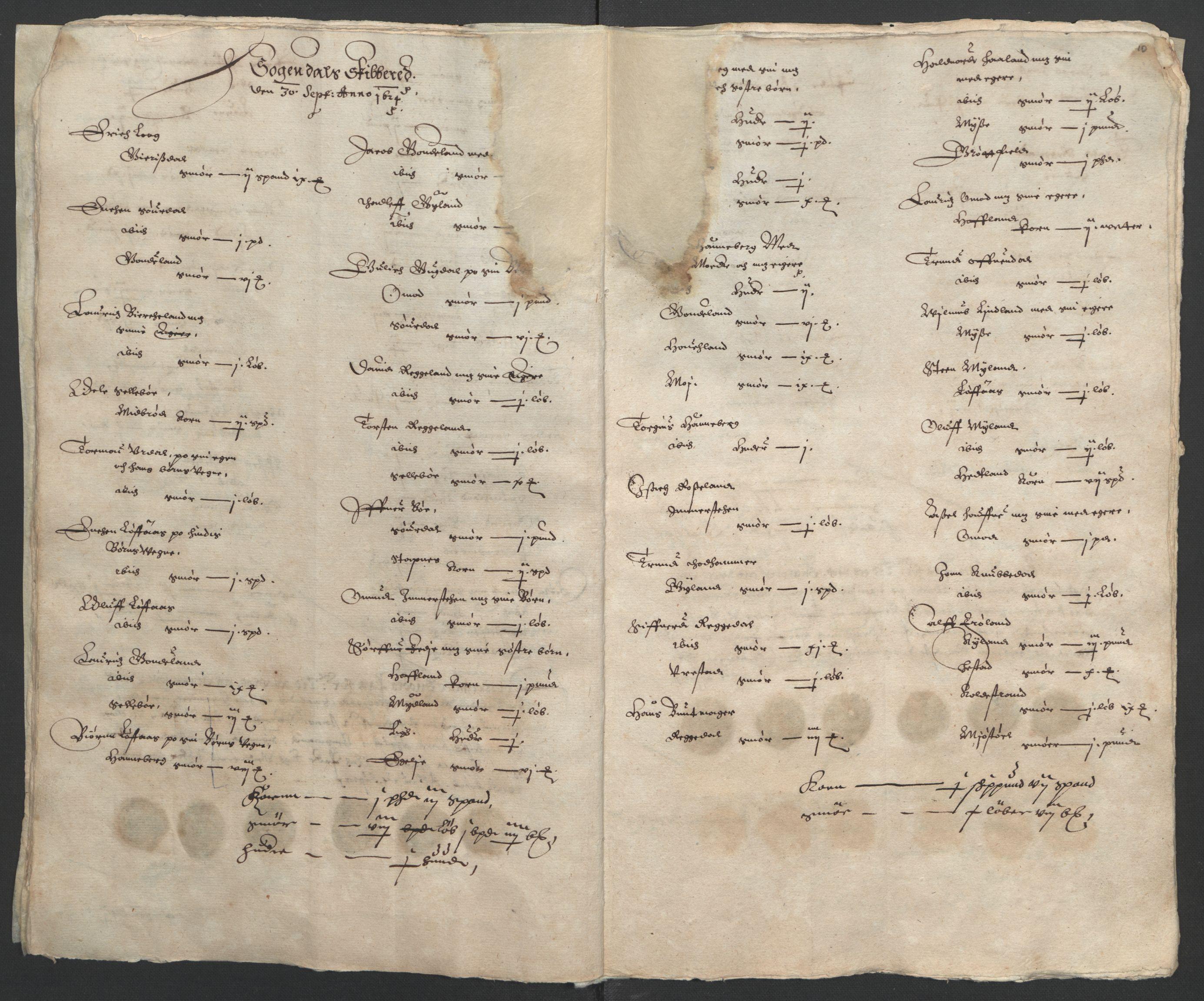 RA, Stattholderembetet 1572-1771, Ek/L0010: Jordebøker til utlikning av rosstjeneste 1624-1626:, 1624-1626, s. 44