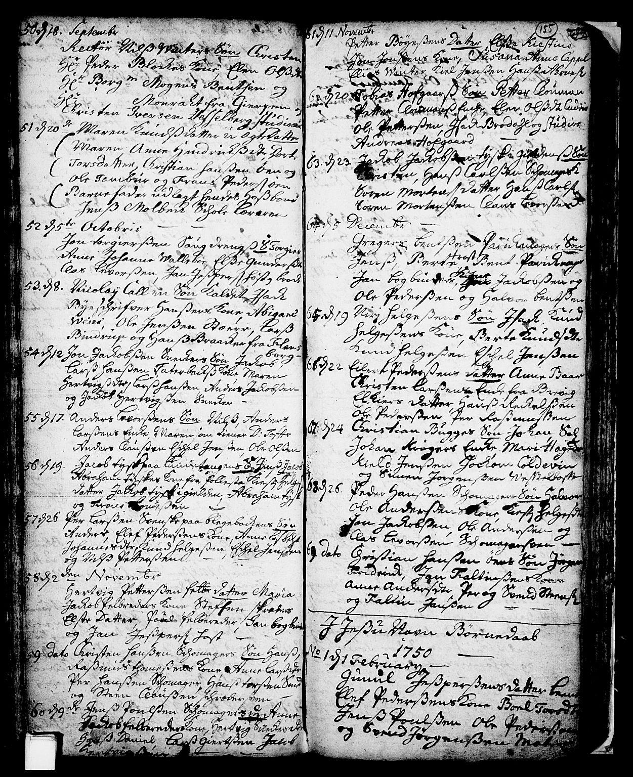 SAKO, Skien kirkebøker, F/Fa/L0002: Ministerialbok nr. 2, 1716-1757, s. 155