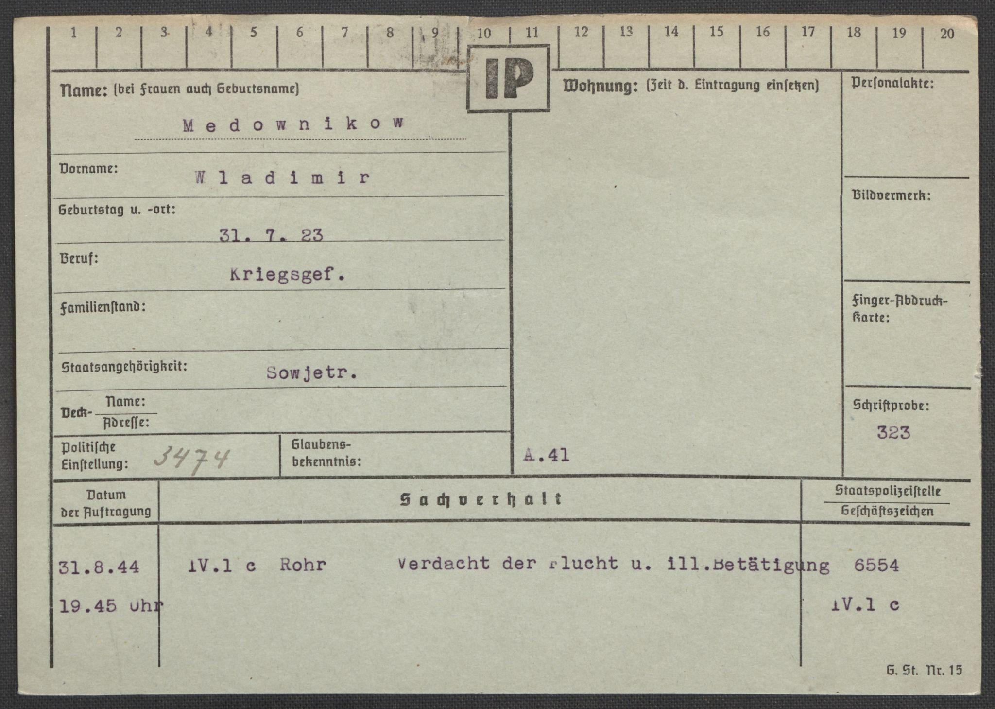 RA, Befehlshaber der Sicherheitspolizei und des SD, E/Ea/Eaa/L0007: Register over norske fanger i Møllergata 19: Lundb-N, 1940-1945, s. 486