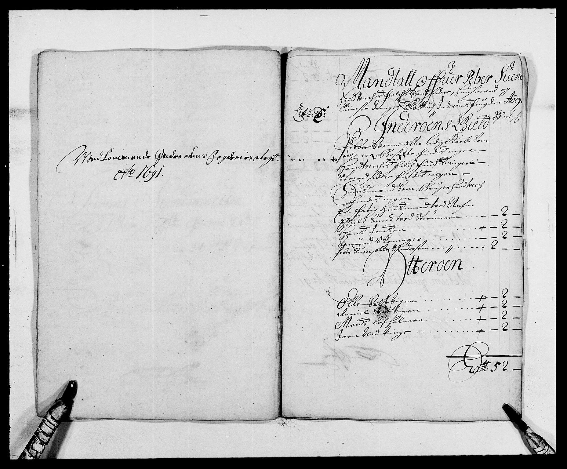 RA, Rentekammeret inntil 1814, Reviderte regnskaper, Fogderegnskap, R63/L4307: Fogderegnskap Inderøy, 1690-1691, s. 302