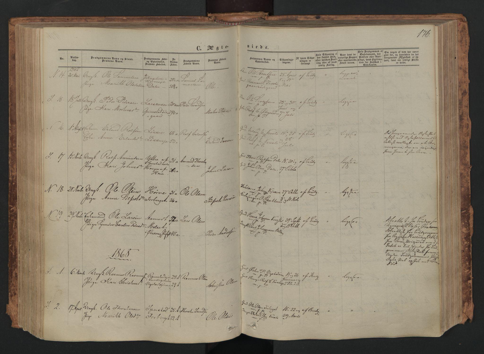 SAH, Skjåk prestekontor, Ministerialbok nr. 1, 1863-1879, s. 176